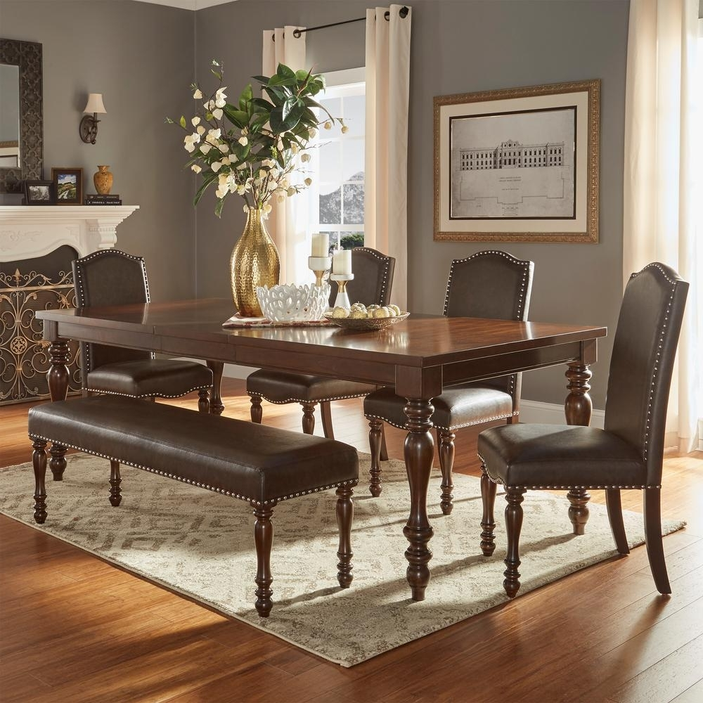 Homesullivan Madison 6-Piece Brown Extendable Dining Set-405425Ak for Trendy Extendable Dining Tables With 6 Chairs