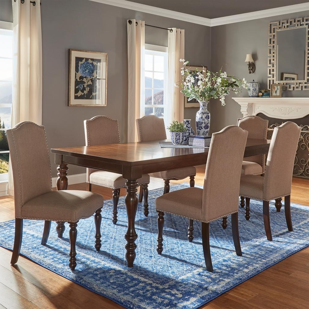 Homesullivan Madison 7 Piece Sand Beige Extendable Dining Set Inside Trendy Extendable Dining Tables Sets (Gallery 19 of 25)