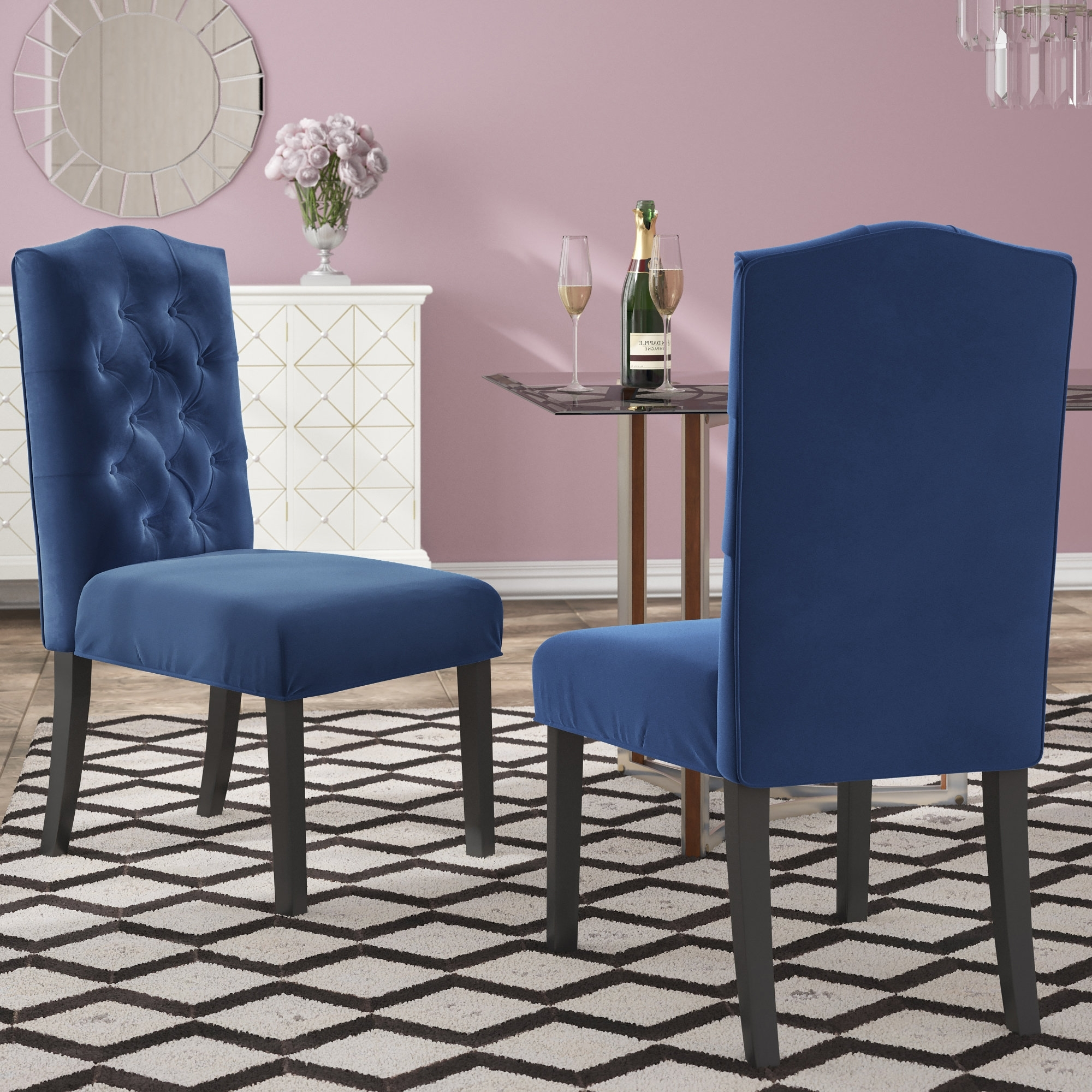 House Of Hampton Menard Traditional Upholstered Dining Chair intended for Most Current Caden 7 Piece Dining Sets With Upholstered Side Chair