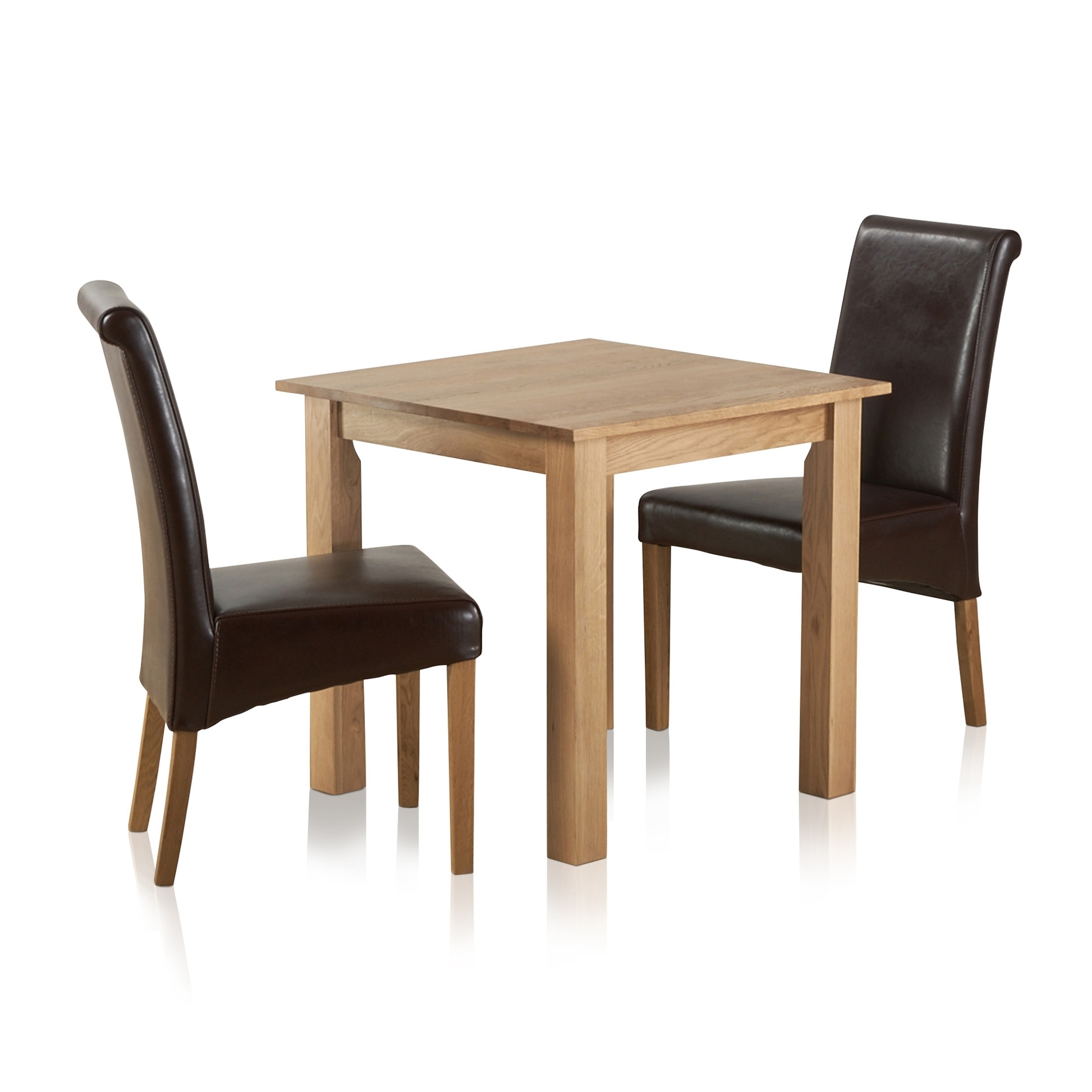 Hudson Dining Tables And Chairs in Most Recent Hudson Dining Set In Natural Oak - Table + 2 Leather Chairs