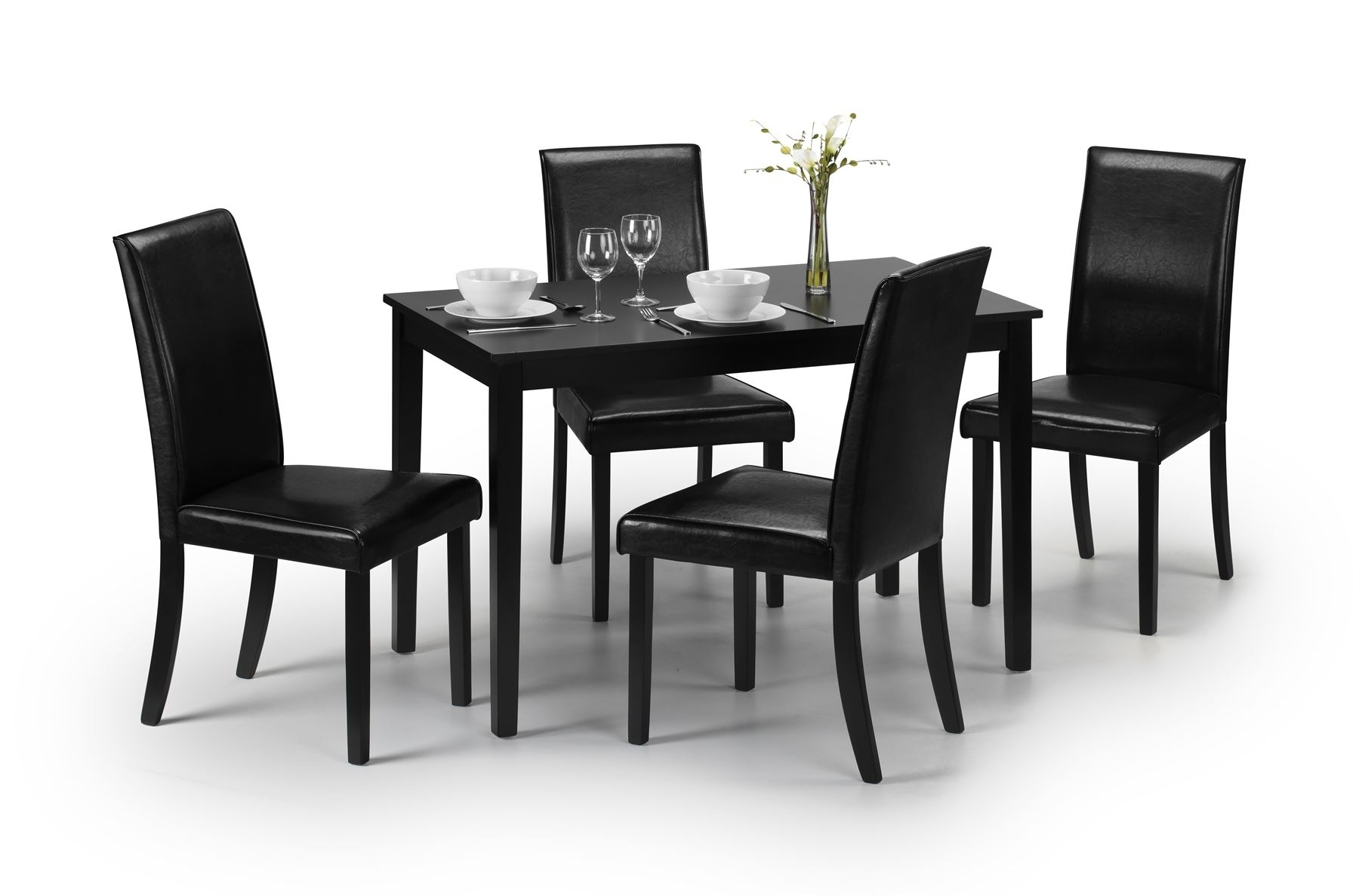 Hudson Dining Tables And Chairs Regarding Current Julian Bowen Hudson Wood Black Dining Table With 4 Faux Leather (View 6 of 25)