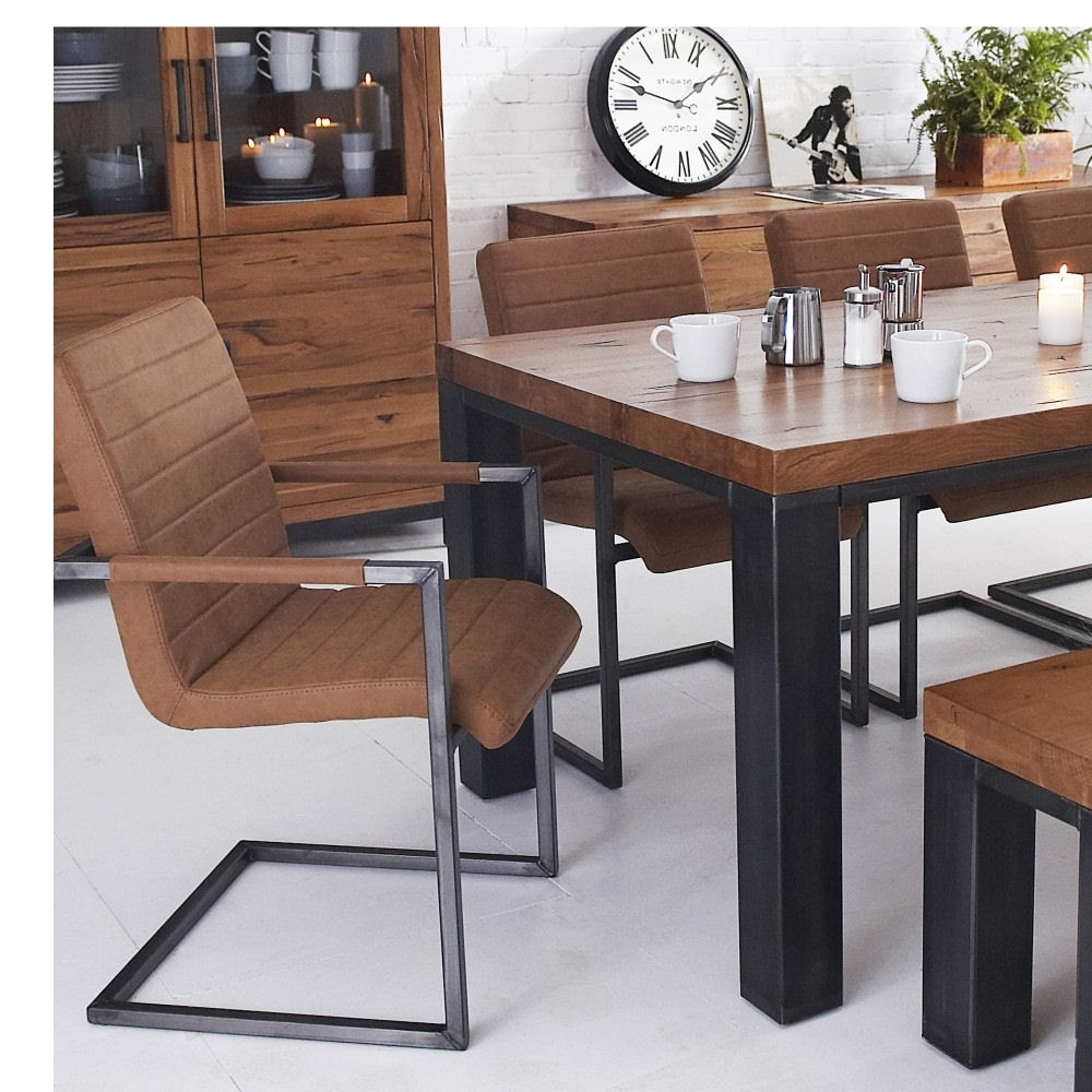 Hudson Industrial Dining Set 1.8M Table With 2 Benches And 2 Chairs intended for Most Current Dining Tables And 2 Benches