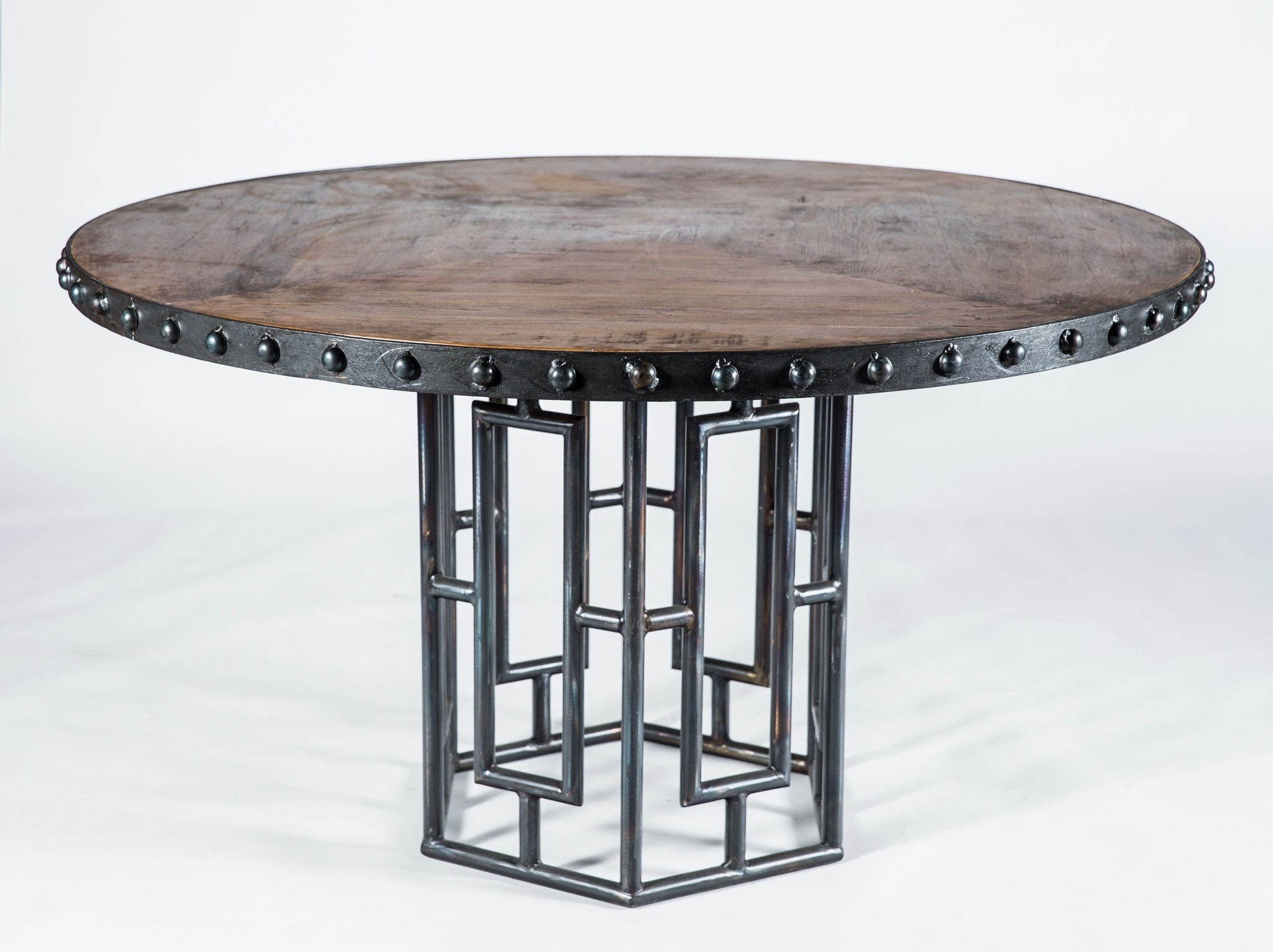 Hudson Round Dining Tables Intended For Most Up To Date Hudson Dining Table With 48 Round Wood Top With Iron Nail Head Edge (View 9 of 25)