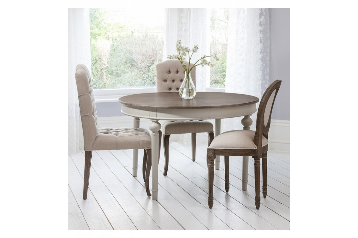 Hudson Round Dining Tables with regard to Most Recent Frank Hudson Maison Round Extending Dining Table In Cool Grey