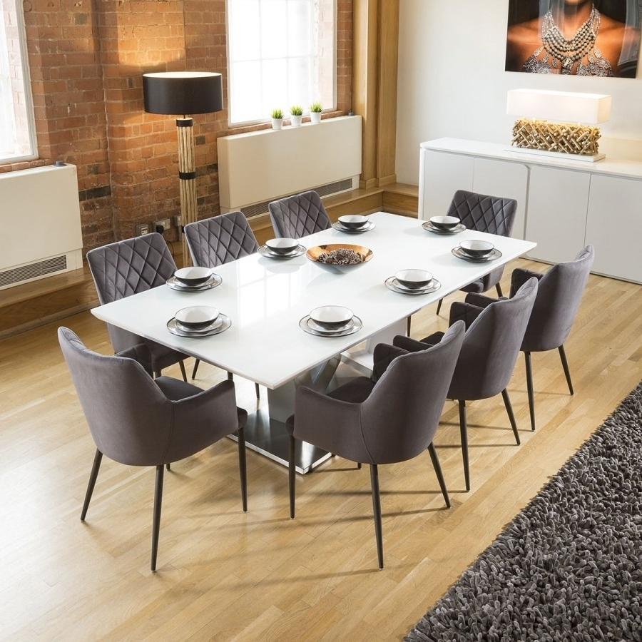 Huge 8 Seater Dining Set 2.2Mt White Glass Top Table 8 Carver Grey for Recent White 8 Seater Dining Tables