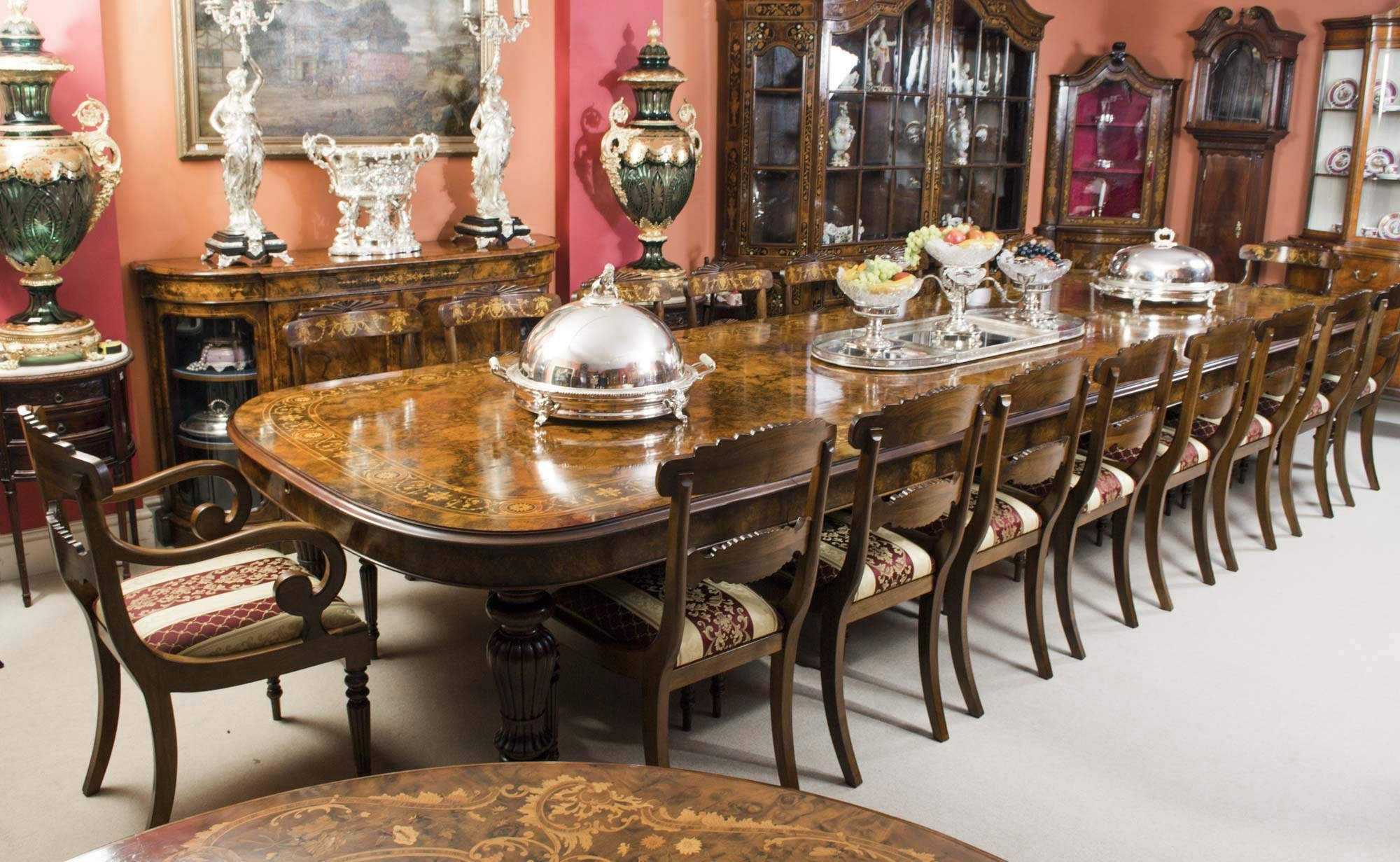 Huge Bespoke Handmade Marquetry Walnut Extending Dining Table 18 Inside Famous Extending Dining Tables And Chairs (View 13 of 25)