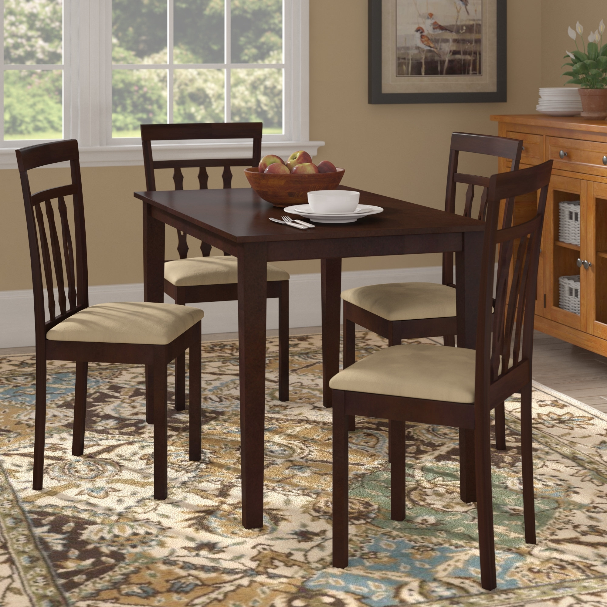 Hyland 5 Piece Counter Sets With Bench intended for Popular August Grove Vivien 5 Piece Dining Set & Reviews