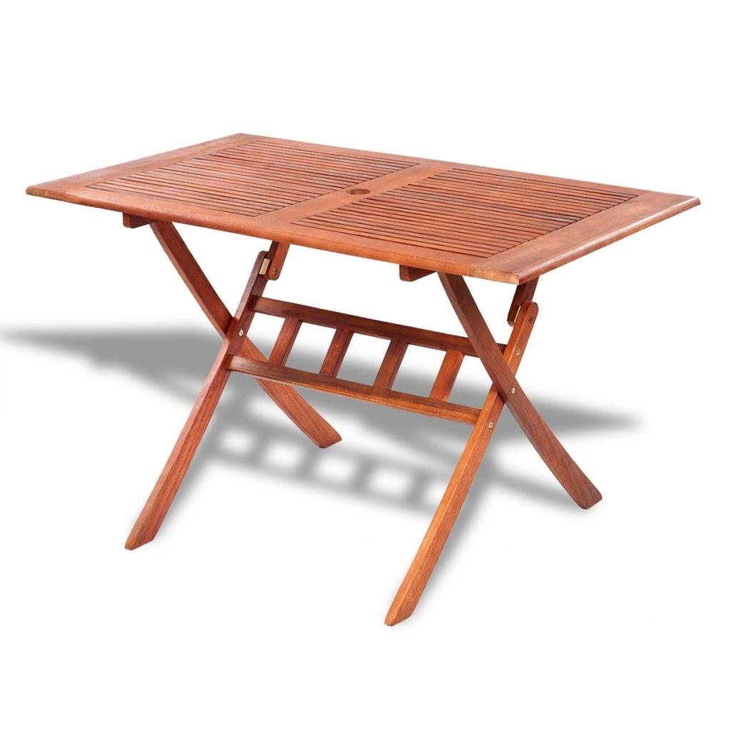 Ikayaa 5Pcs Outdoor Dining Set Acacia Wood Table Folding Outdoor With Well Known Folding Outdoor Dining Tables (Gallery 19 of 25)