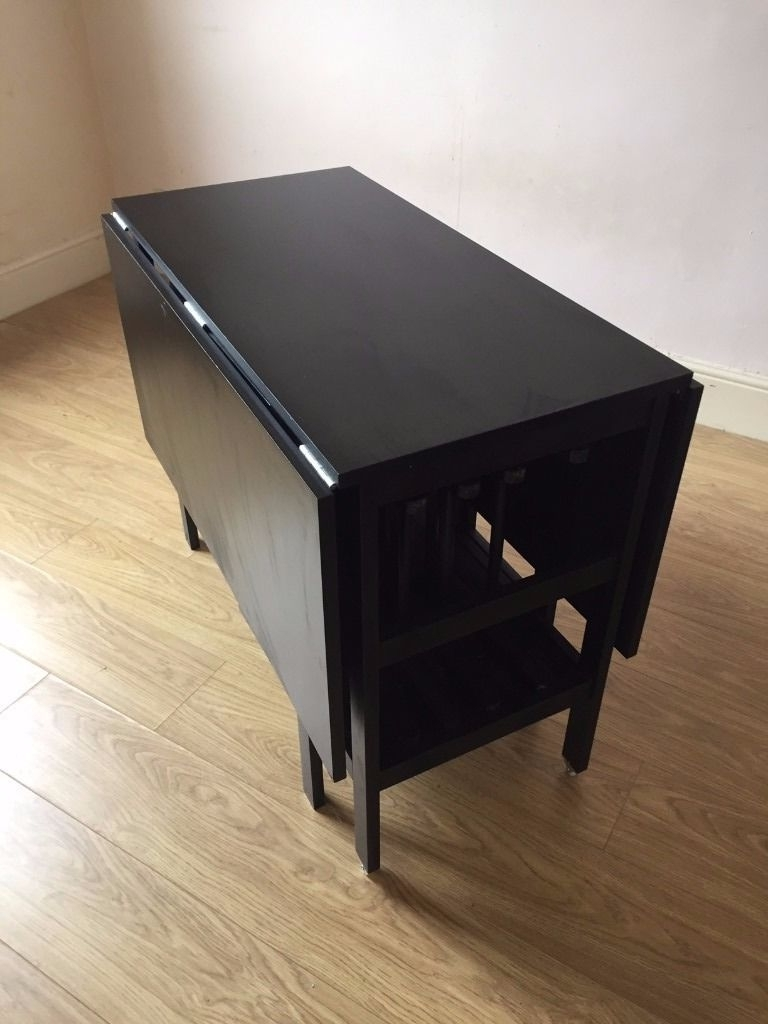Ikea Black Barsviken Drop Leaf Extending Dining Table And X4 Terj intended for Trendy Drop Leaf Extendable Dining Tables