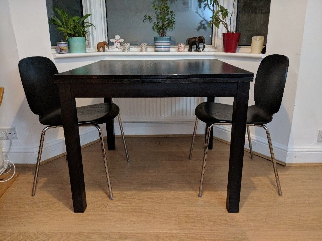 Ikea Black Extendable Dining Table + 2 Chairs (Gallery 6 of 25)