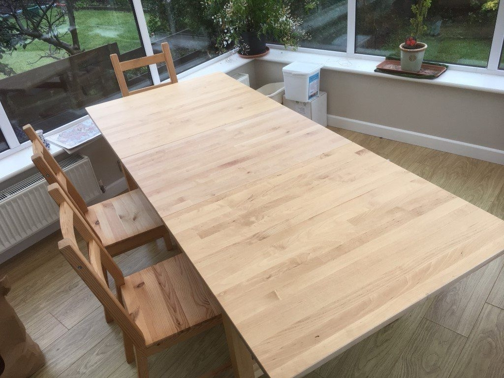 Ikea Extendable Norden Dining Table In Birch Plus Skogsta Wooden Intended For Well Liked Birch Dining Tables (Gallery 21 of 25)