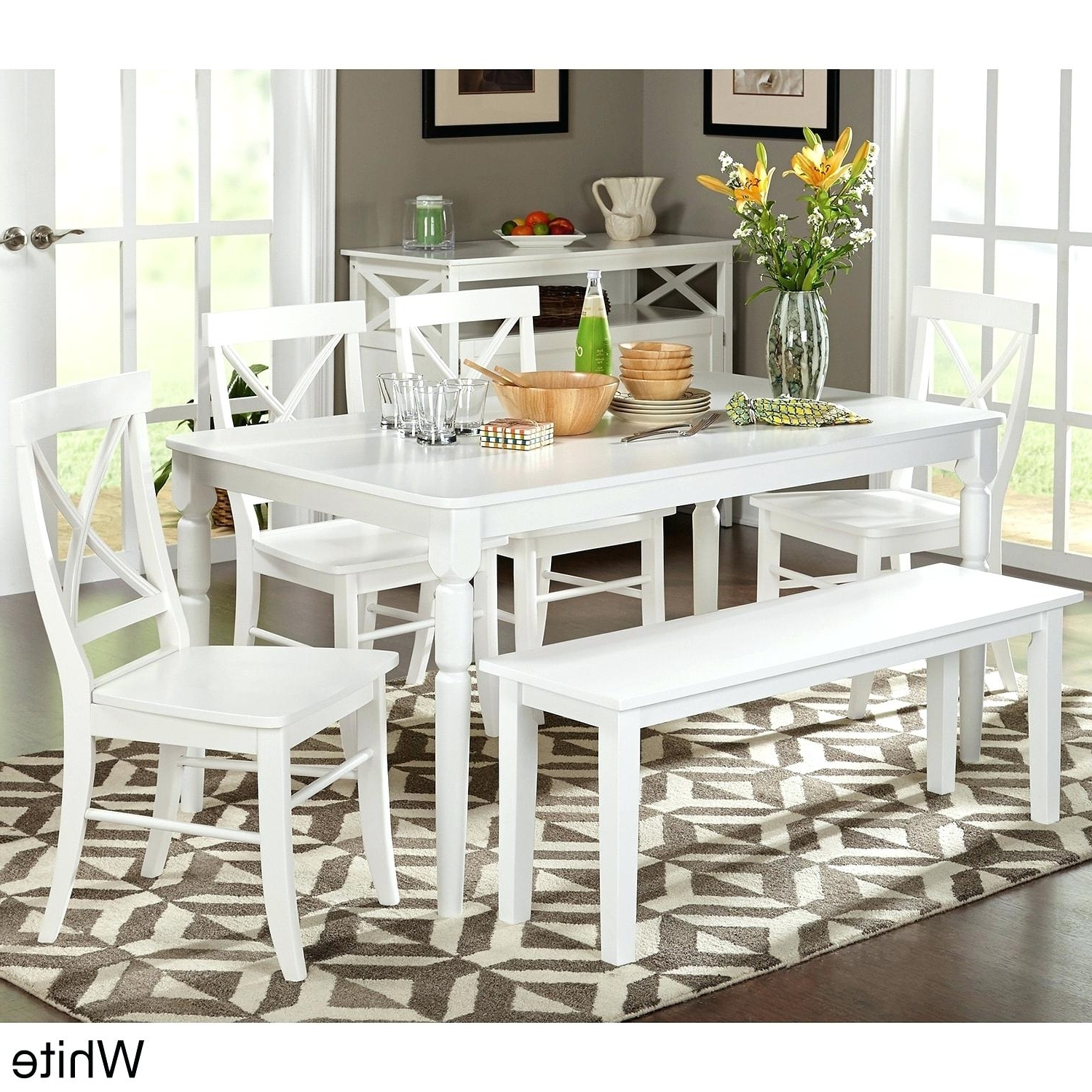 Imágenes De White Wooden Dining Room Table And Chairs regarding 2018 Combs 5 Piece 48 Inch Extension Dining Sets With Pearson White Chairs