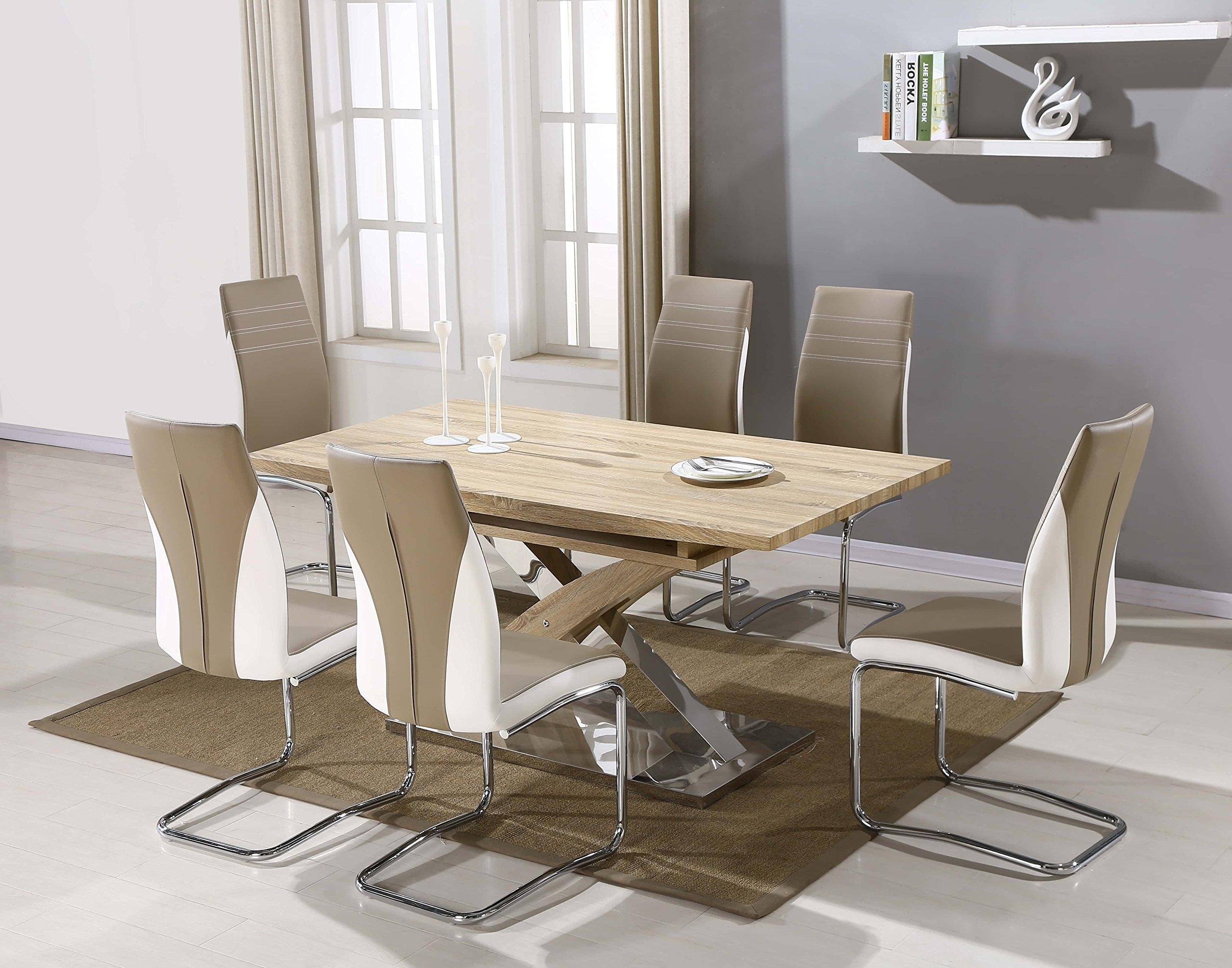 Imperial Dining Table Set And 6 Upholstered Padded Faux Leather Within Trendy Imperial Dining Tables (View 21 of 25)