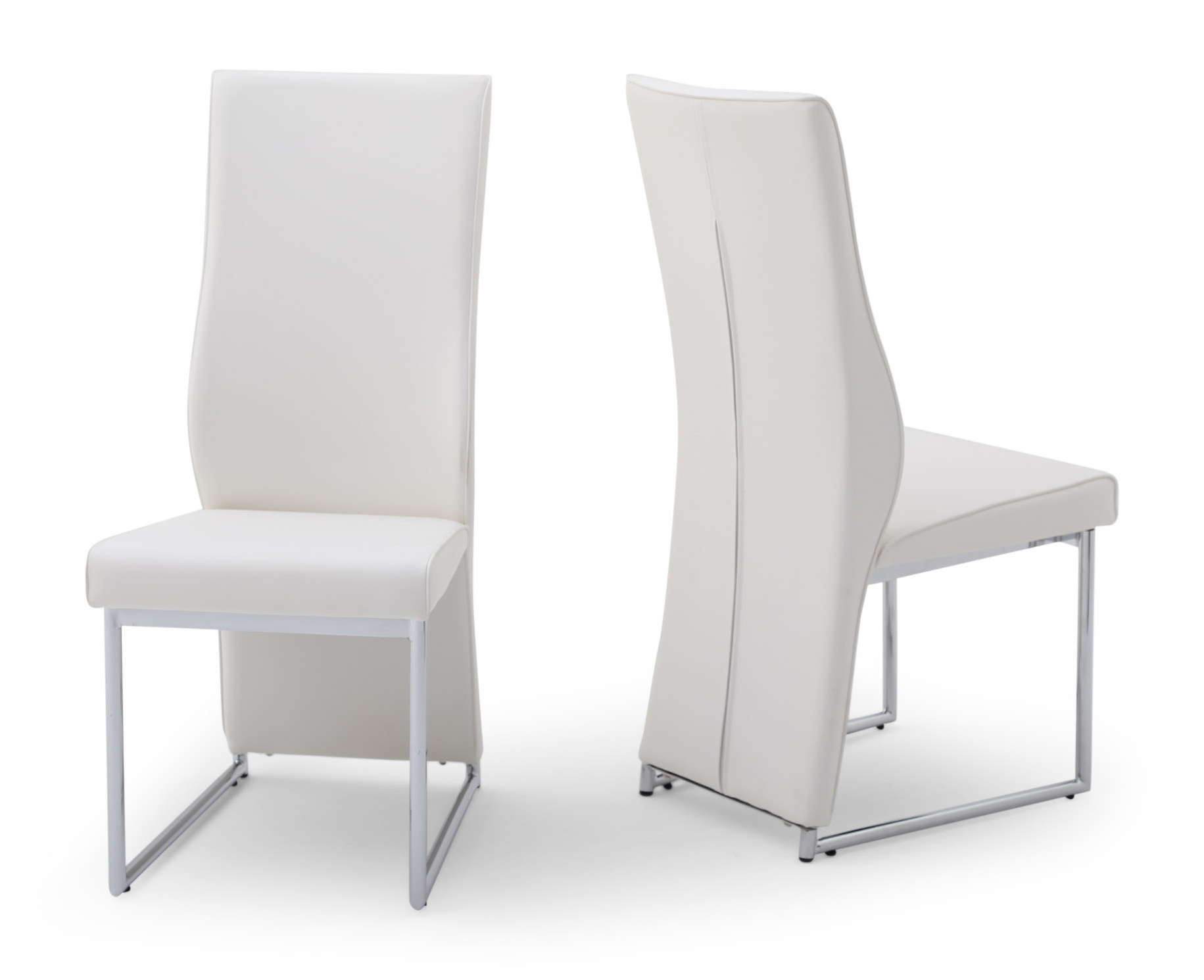 Imperial White High Back Leather Dining Chair with Most Popular White Leather Dining Chairs