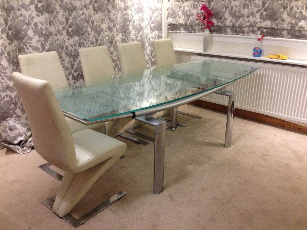 In Clydebank, West In Most Popular Extendable Glass Dining Tables And 6 Chairs (View 14 of 25)