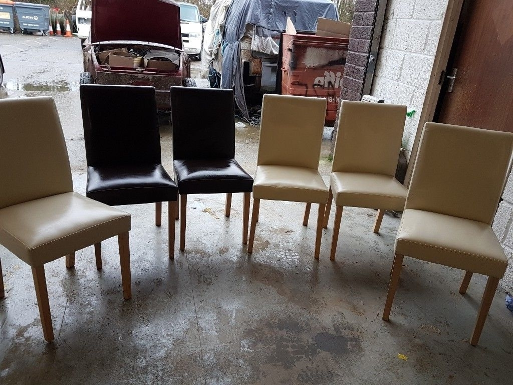 In In Cream Faux Leather Dining Chairs (View 12 of 25)