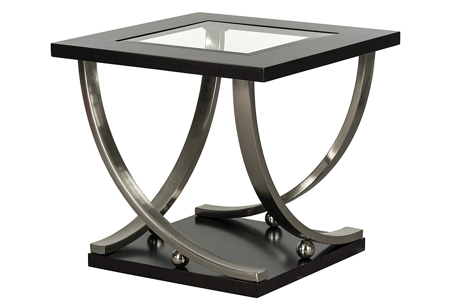 Ina Matte Black 60 Inch Counter Tables With Frosted Glass Inside Famous Amazon: Standard Furniture Melrose End Table With Casters, Brown (Gallery 20 of 25)