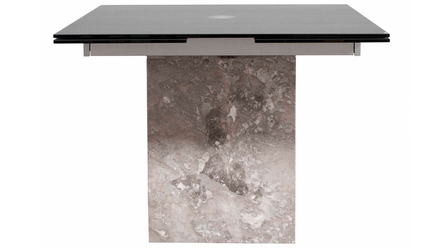 Ina Matte Black 60 Inch Counter Tables With Frosted Glass throughout Widely used Modern Citadel Extension Dining Table Grey Marble Base 12Mm Acid
