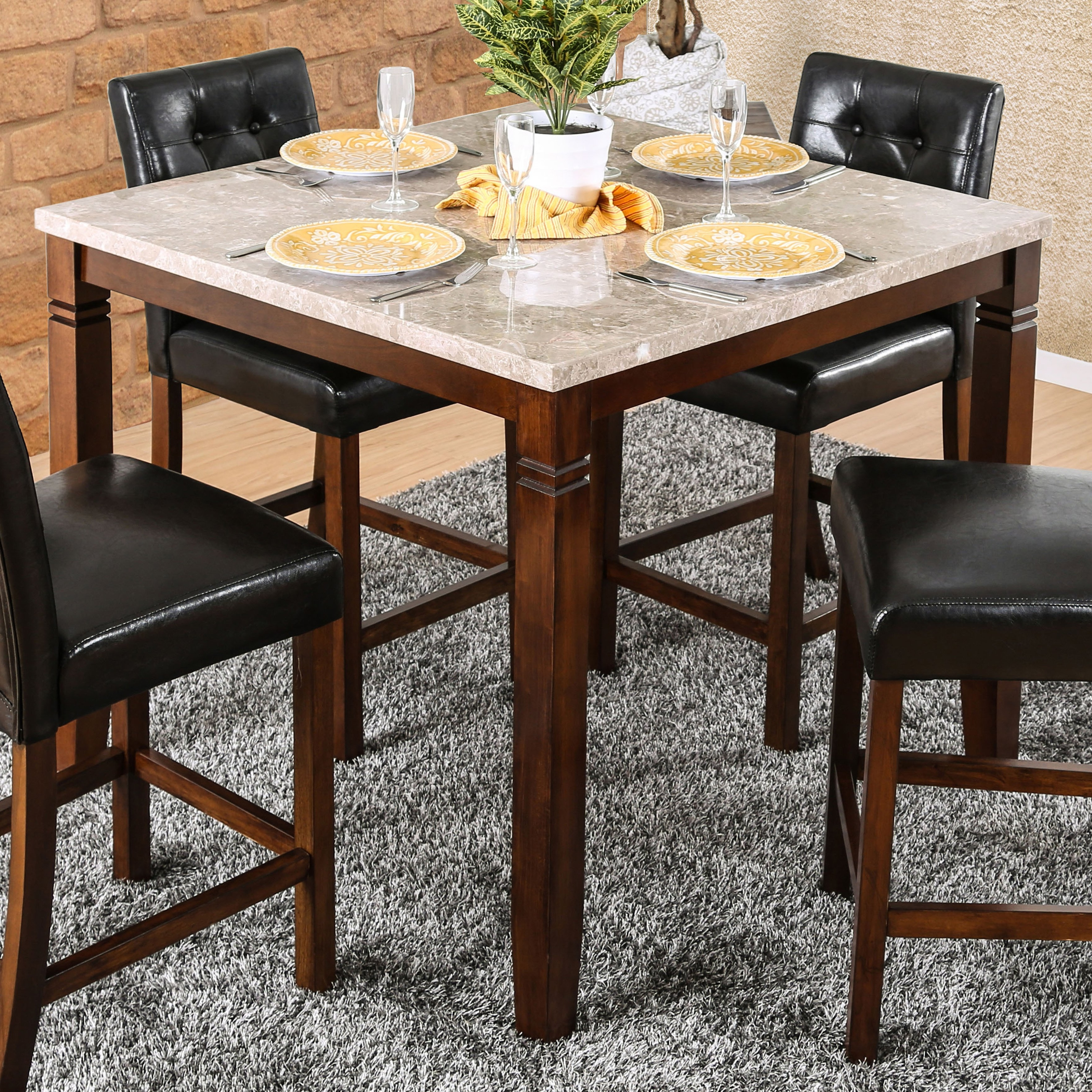 Ina Matte Black 60 Inch Counter Tables With Frosted Glass within Most Current Shop Furniture Of America Terese Genuine Marble Top 42-Inch Brown