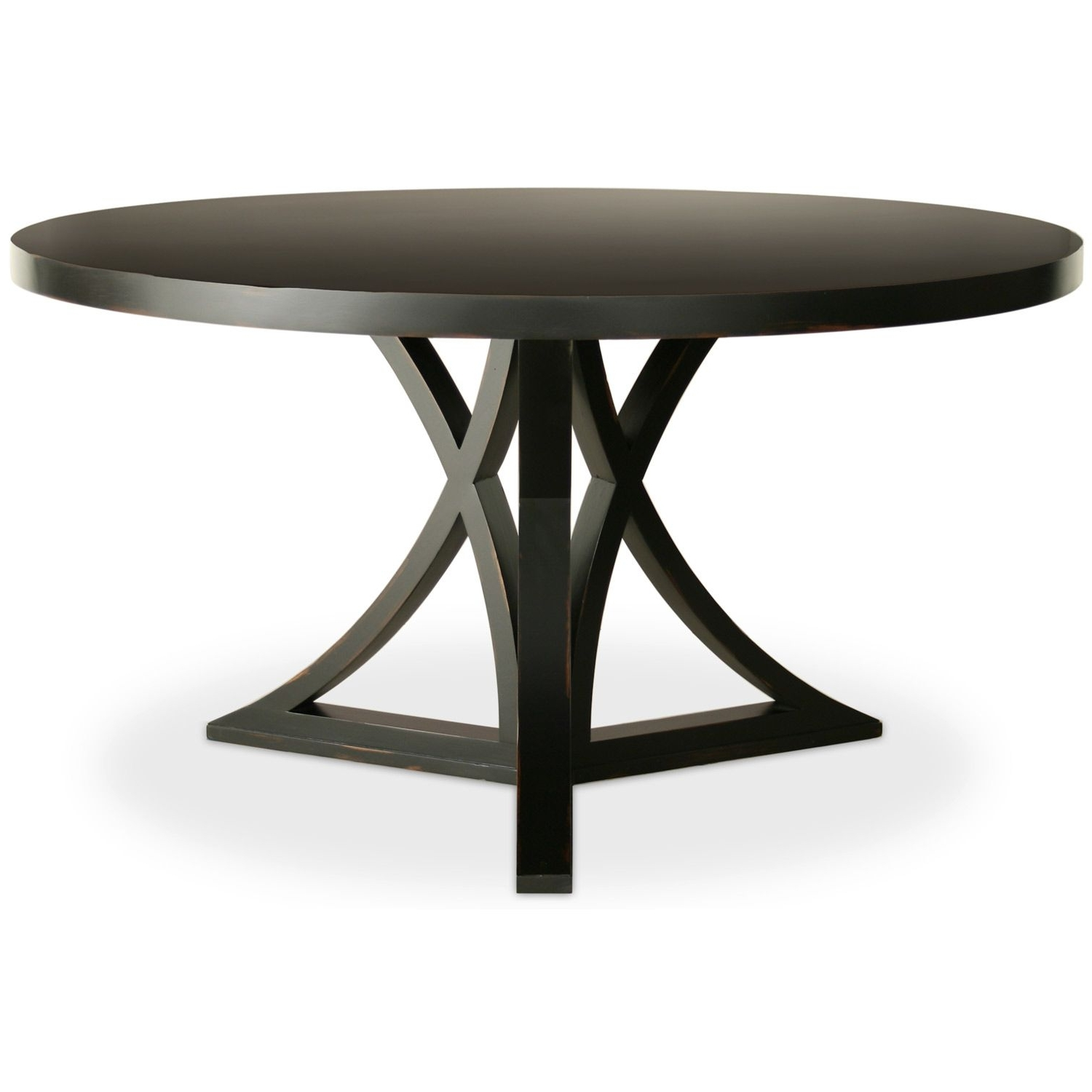 "Ina Pewter 60 Inch Counter Tables With Frosted Glass inside Newest 60"" Round Dining Set With Leaf"