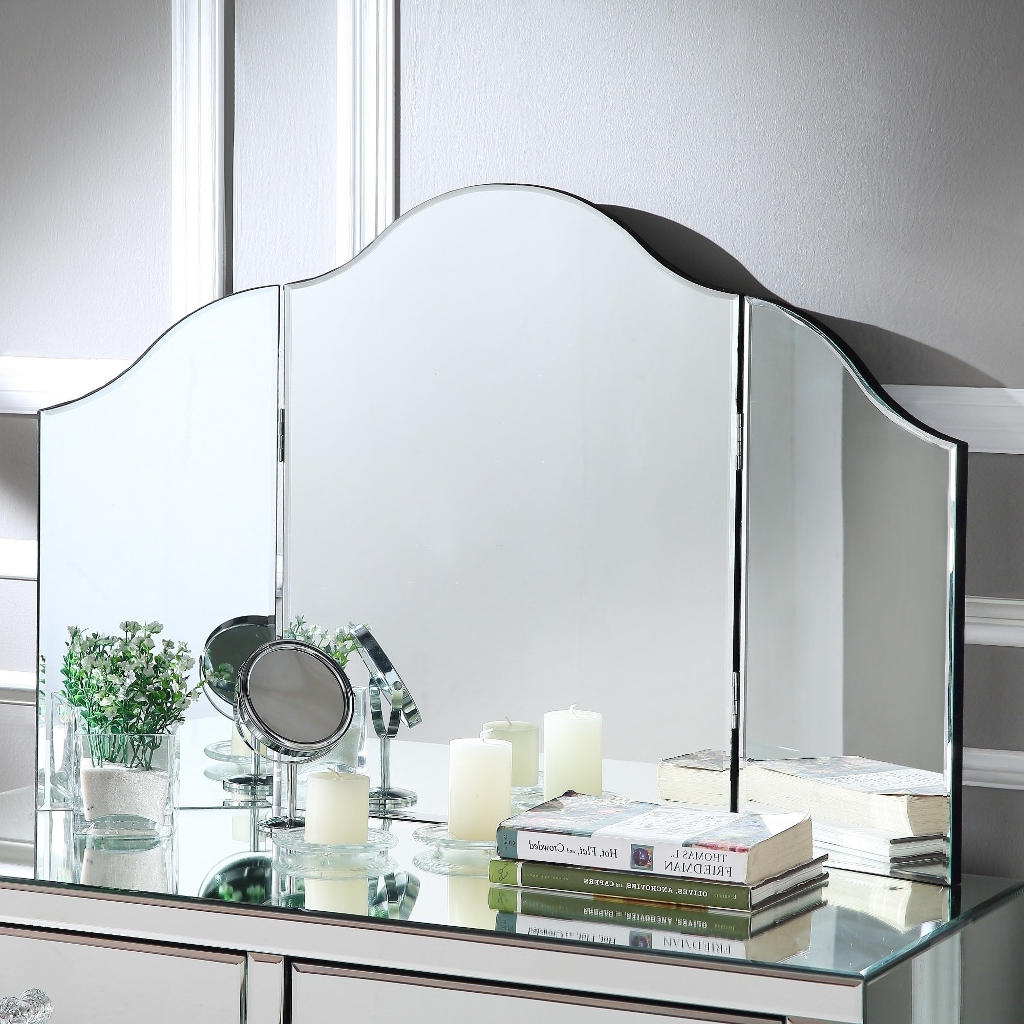 Ina Pewter 60 Inch Counter Tables With Frosted Glass intended for Most Recently Released Shop Hannah Frameless Modern Contemporary Tri-Fold Tabletop Vanity