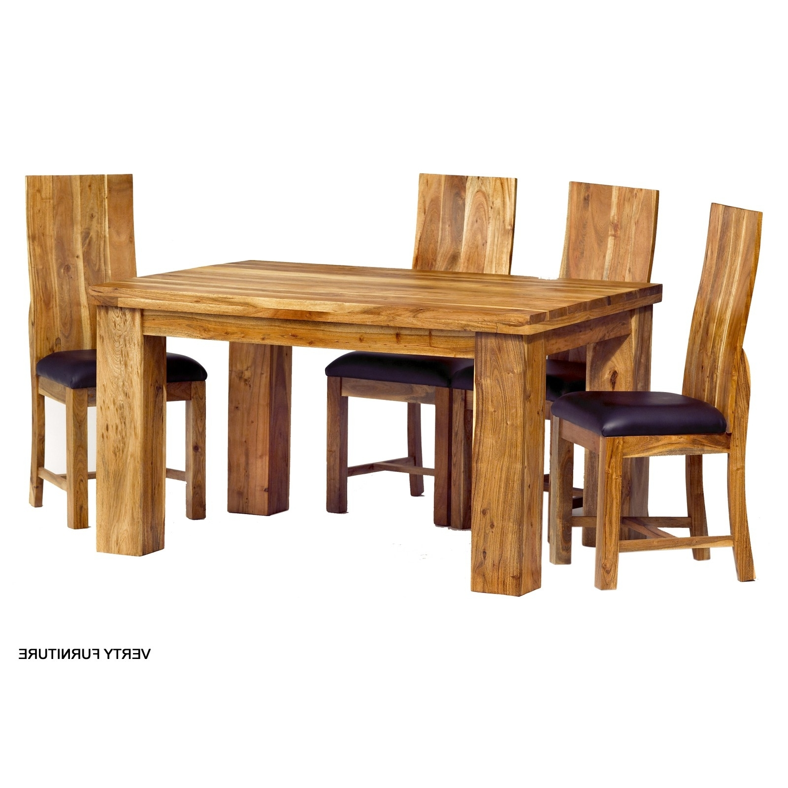 Indian Dining Chairs In Preferred Acacia Dining Table – Small With 4 Chairs – Verty Indian Furniture (View 14 of 25)