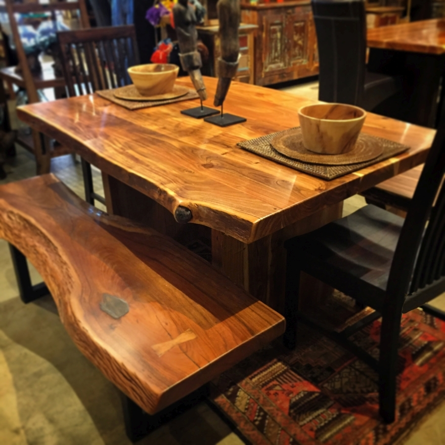 Indian Dining Room Furniture pertaining to Newest Live Edge Indian Rosewood Dining Table 60X40X30 $2,595; Bench