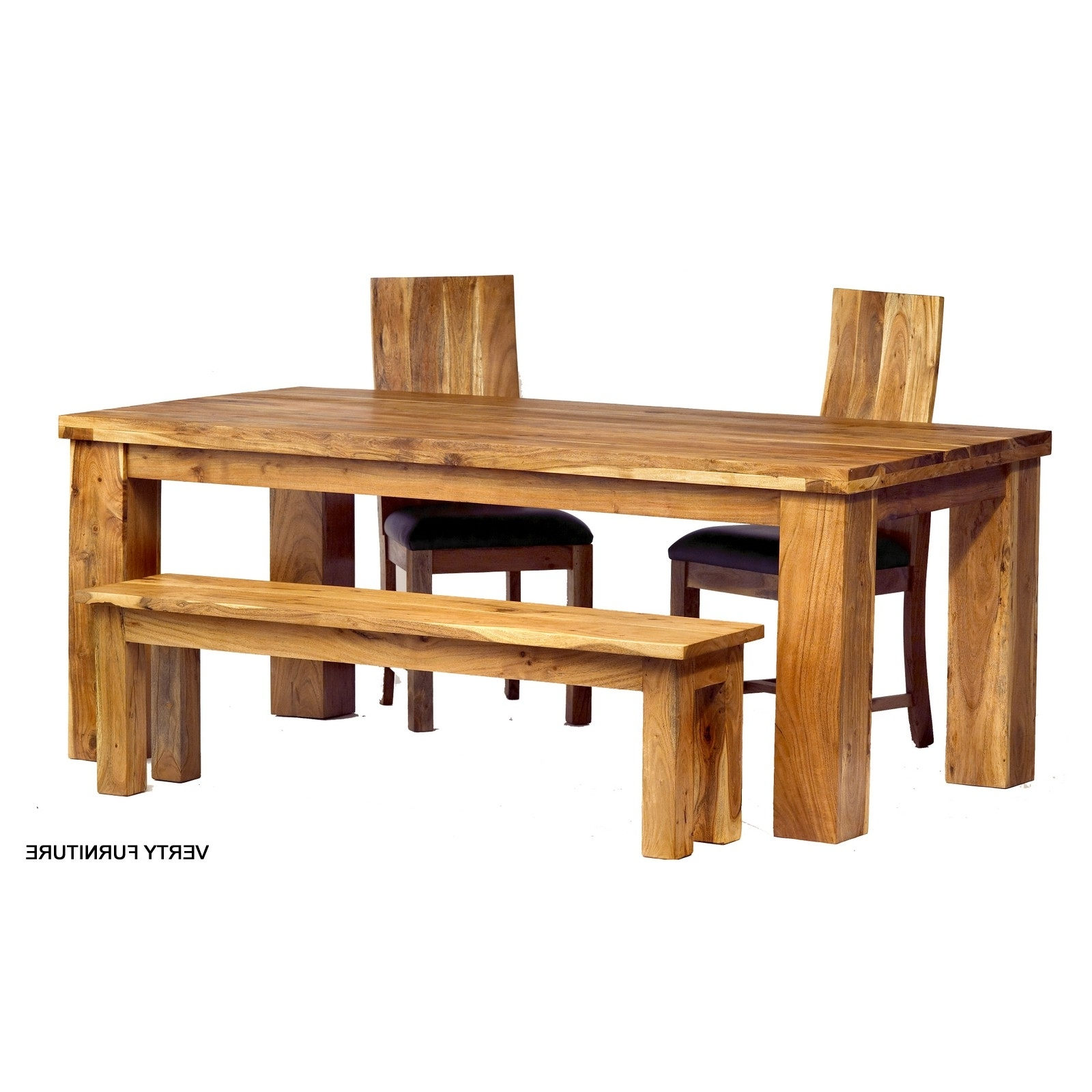 Indian Dining Tables And Chairs For 2018 Acacia Dining Table – Large With Bench And 4 Chairs – Verty Indian (View 20 of 25)