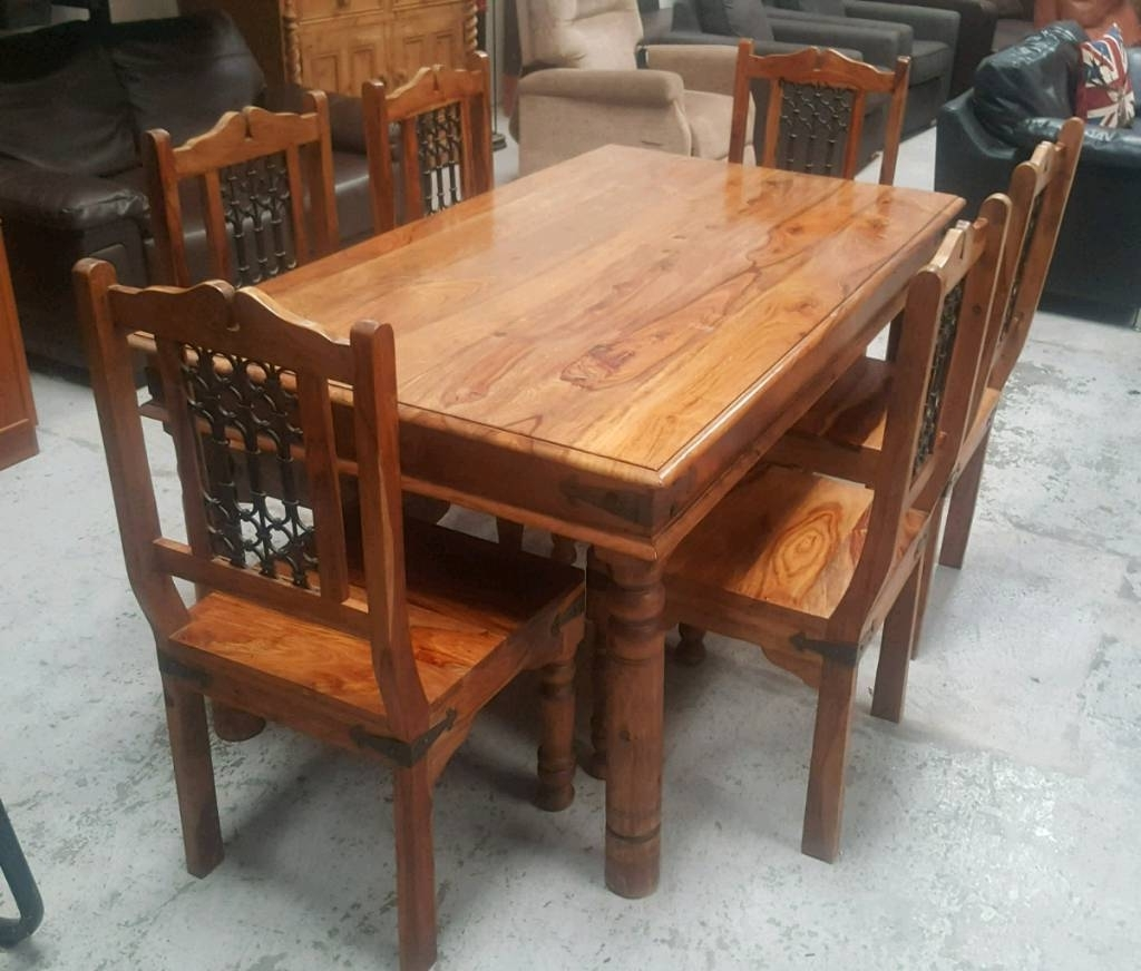 Indian Dining Tables And Chairs pertaining to Most Recently Released Solid Indian Pine Wood Dining Table & 6 Chairs Can Deliver
