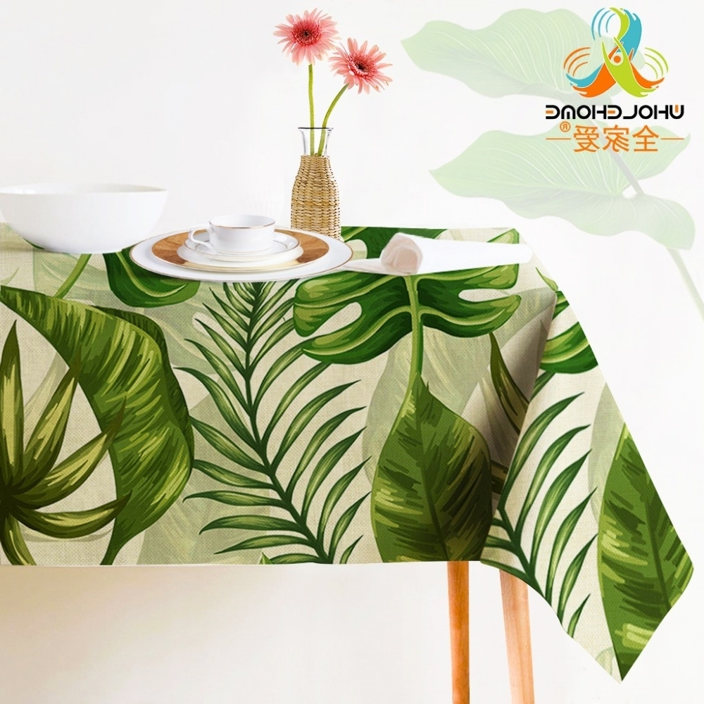 Indian Style Dining Tables With Popular Tropical Plants Decorative Tablecloth Indian Style Green Color (View 23 of 25)