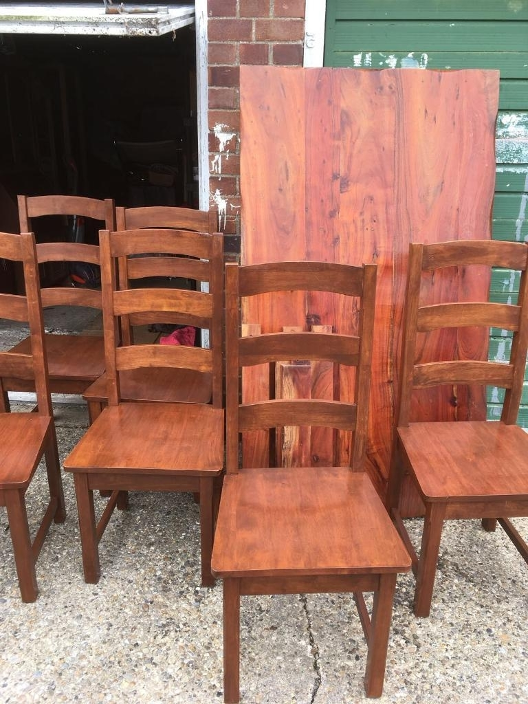 Indian Wood Dining Tables Inside Trendy Solid Indian Wood Dining Table And 6 Chairs (View 8 of 25)