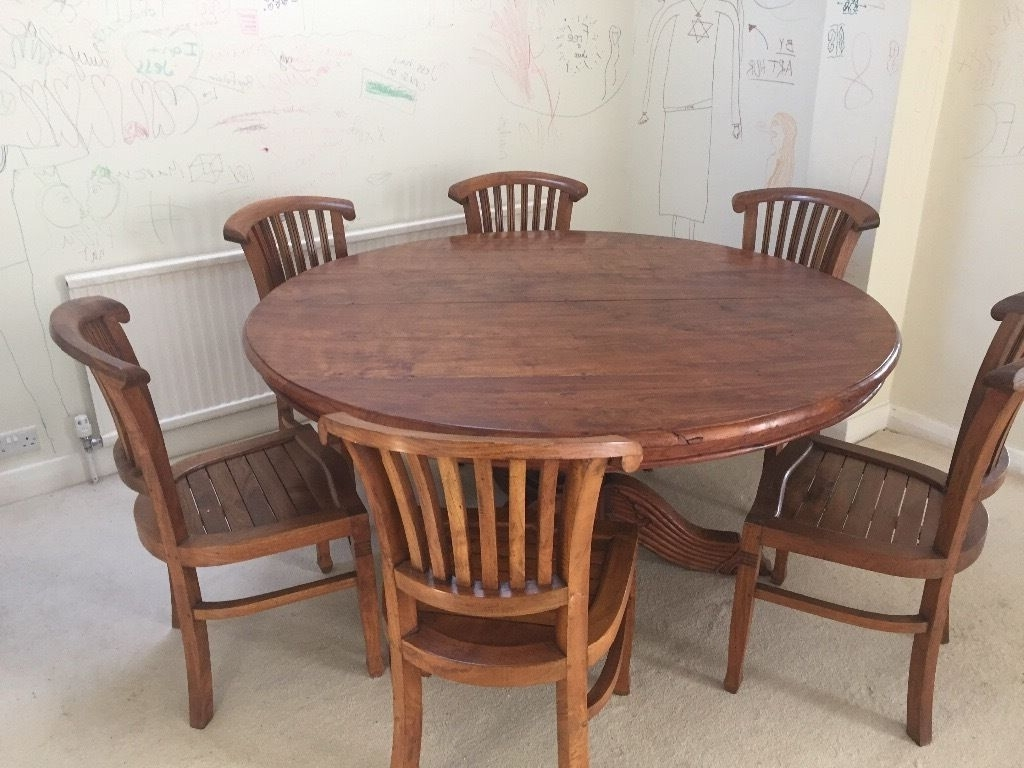 Indonesian Solid Teak Wood Round Dining Table And 8 Chairs Dark Wood Intended For Most Recent Round Teak Dining Tables (View 6 of 25)
