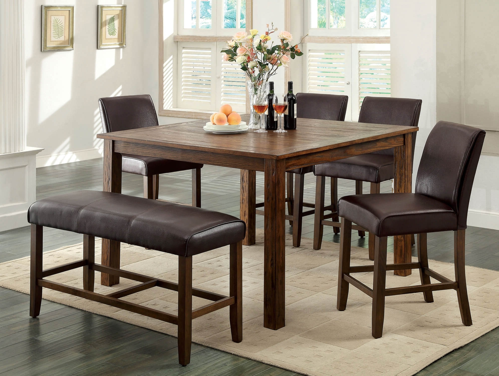 Indoor Picnic Style Dining Tables With Regard To Most Popular 26 Dining Room Sets (Big And Small) With Bench Seating (2018) (View 18 of 25)
