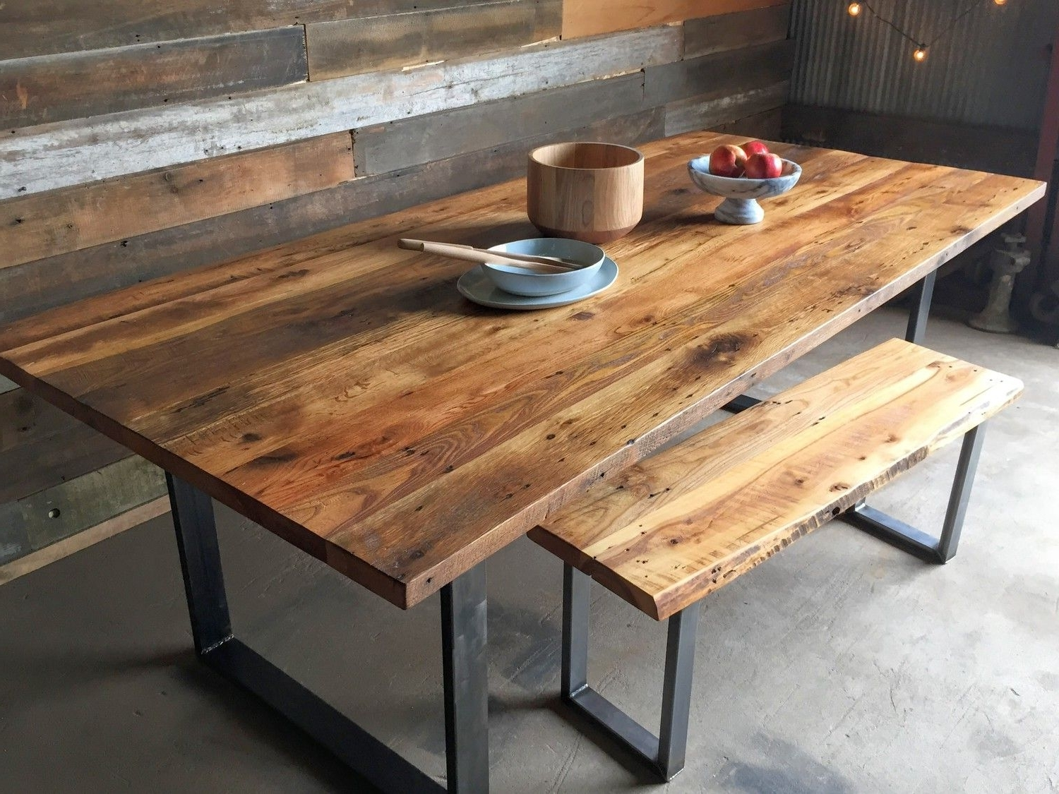 Industrial Modern Dining Table / U-Shaped Metal Legs