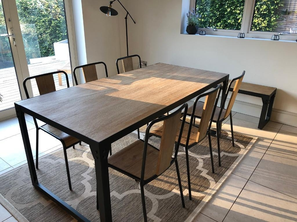 Industrial Style Dining Set; Dining Table, 6 Chairs And Bench (View 13 of 25)