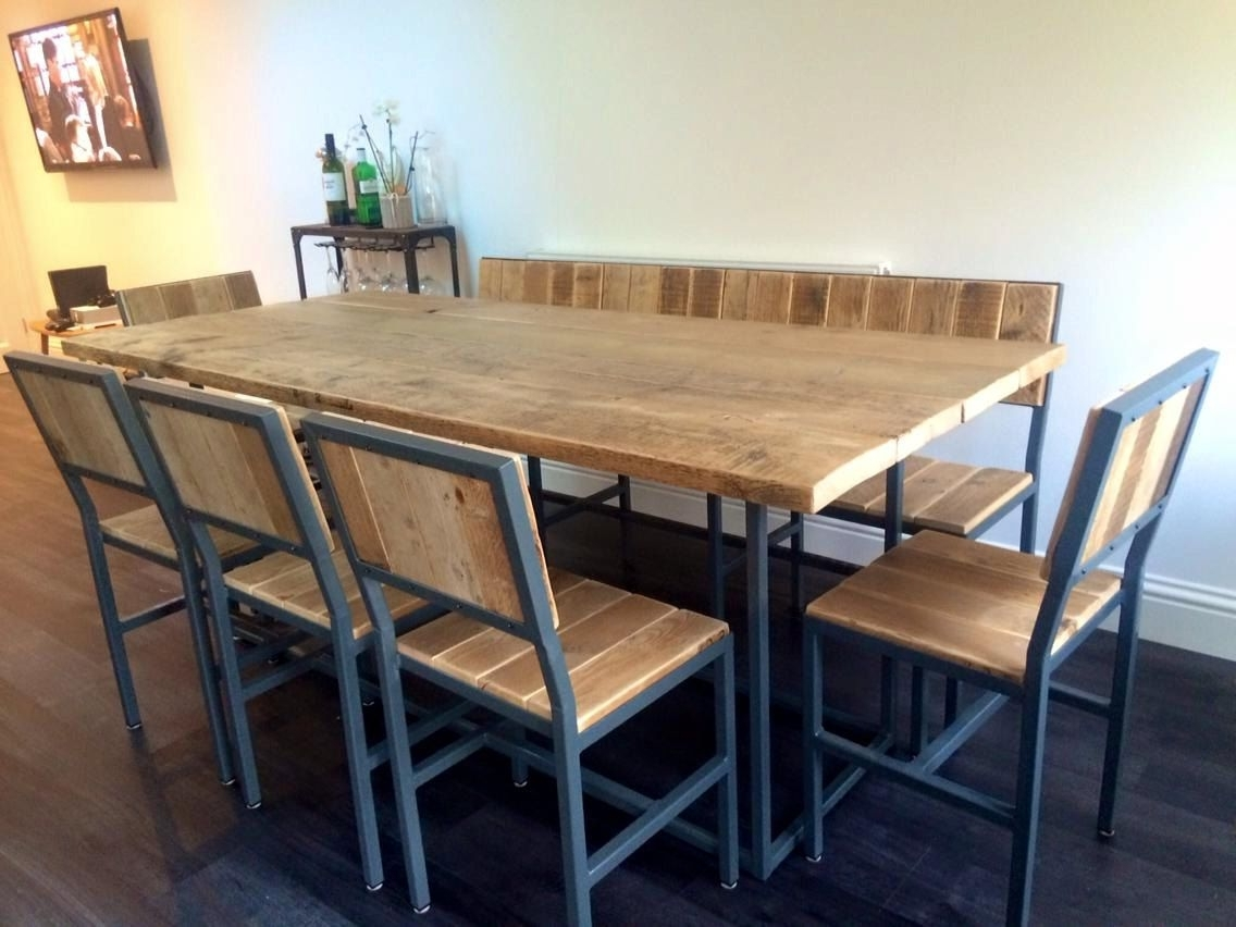 Industrial Style Dining Table, Bench & Chair Set - Hand Made In Uk throughout Latest Industrial Style Dining Tables