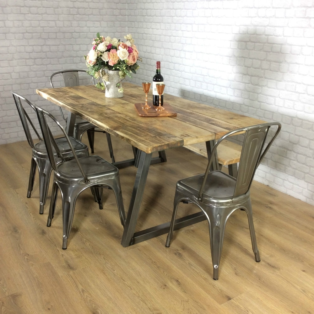 Industrial Style Dining Tables throughout Best and Newest Farmhouse Dining Set Industrial Style Kitchen Table, Farm Style