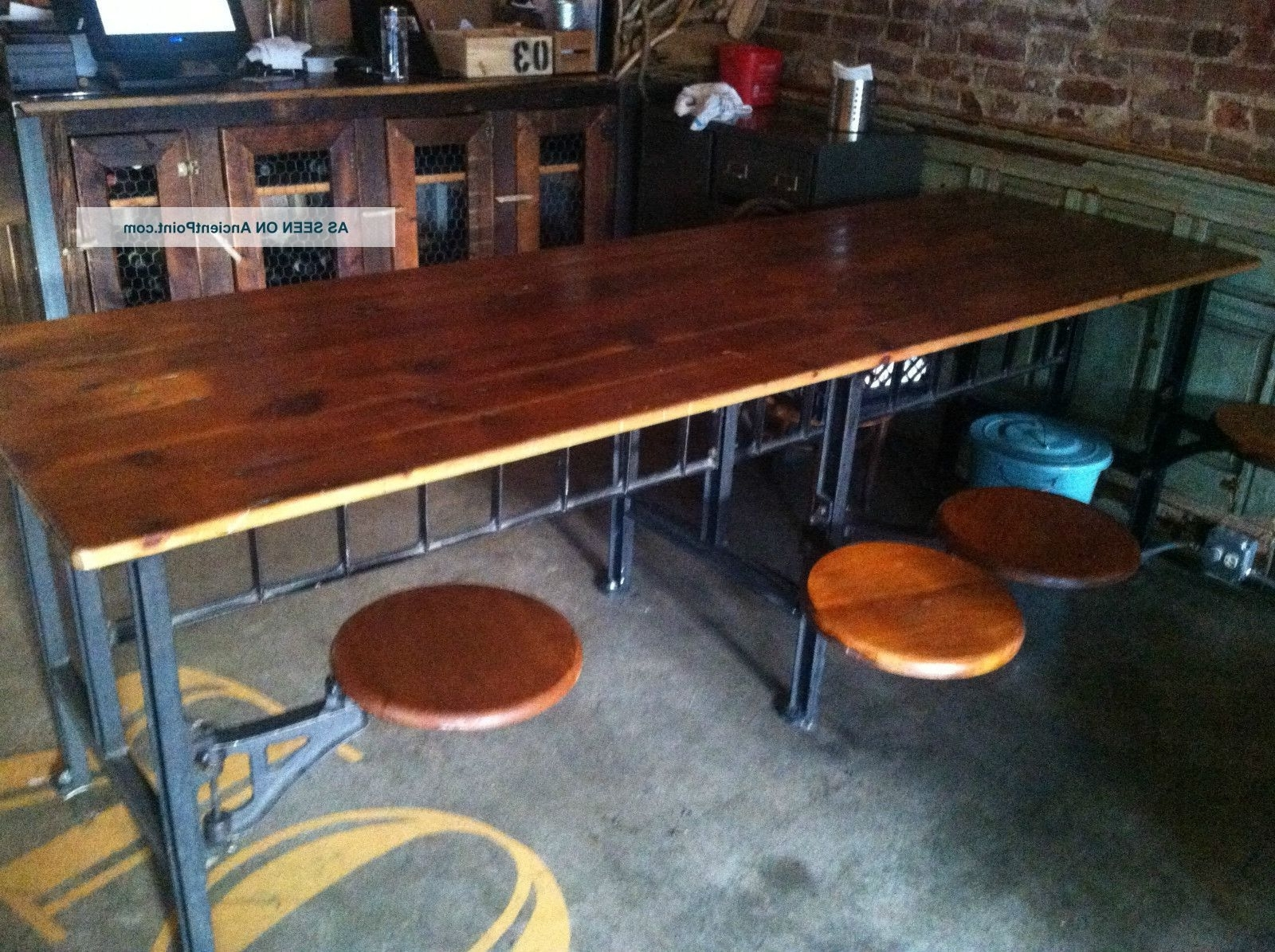 Industrial Table With 8 Swinging Stool Attached Post-1950 Photo with regard to Recent Dining Tables With Attached Stools