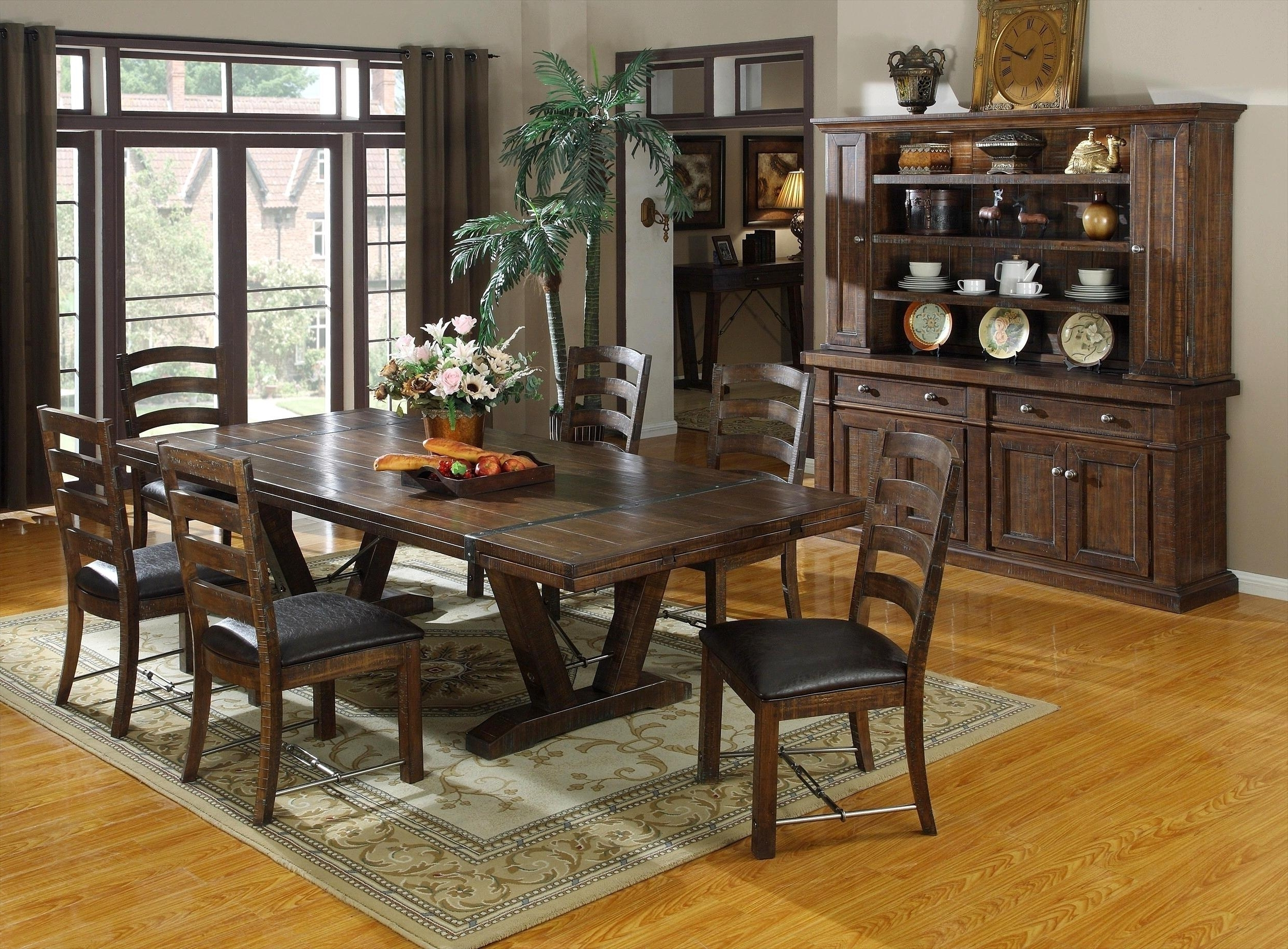 Inspiring-Kitchen-Dark-Brown-Wooden-Dining-Room-Dark-Brown-Polished in Trendy Dark Wood Square Dining Tables
