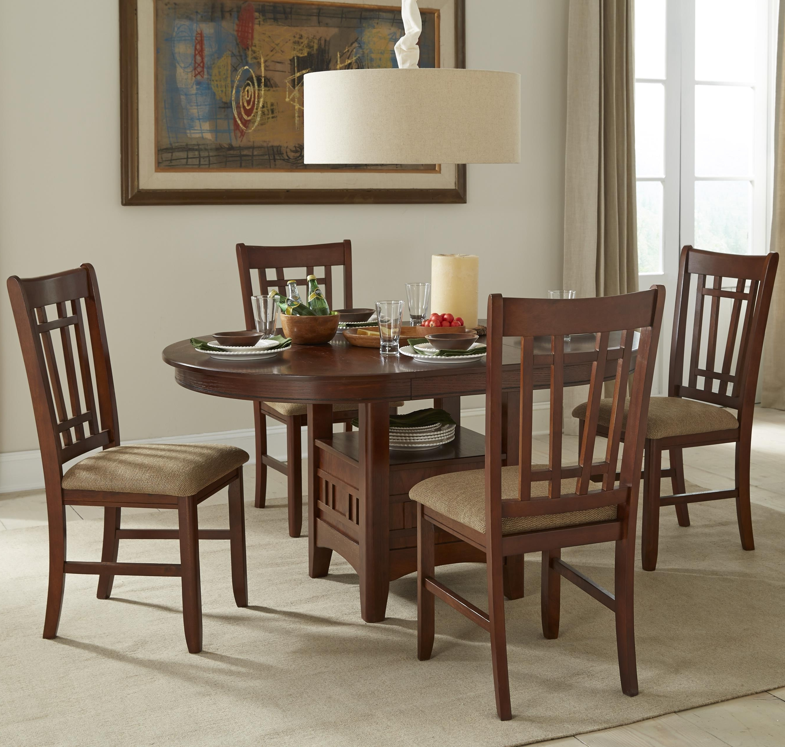 Intercon Mission Casuals Oval Dining Table Set With Cushioned Side regarding Fashionable Market 5 Piece Counter Sets