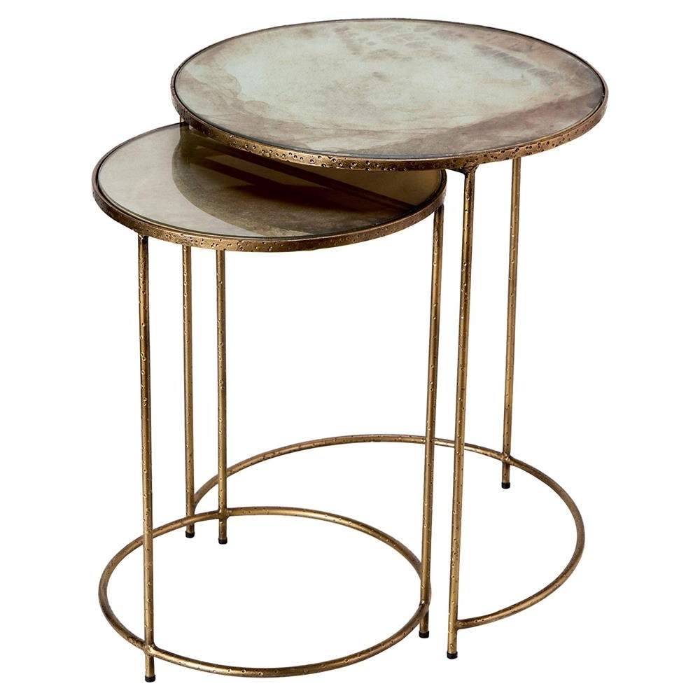 Interlude Macie Hollywood Regency Gold Round Nesting Tables – Set Of 2 Inside Most Current Macie Round Dining Tables (View 4 of 25)