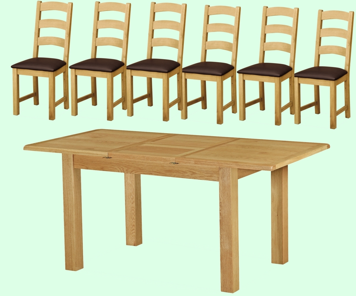 Intotal Little Baddow Compact Dining Set With 6 Chairs – Dining Sets Regarding Current Compact Dining Sets (Gallery 18 of 25)