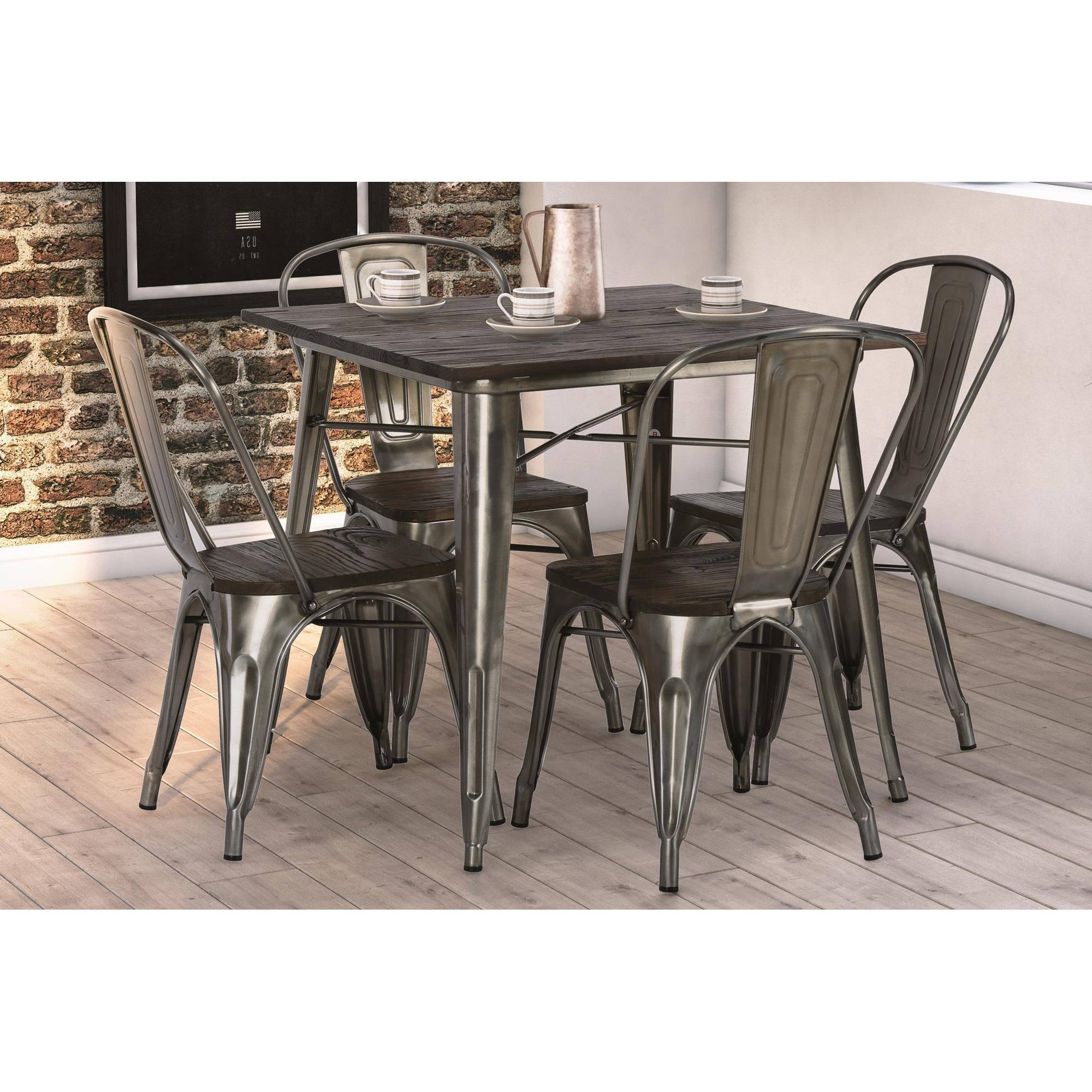 Iron And Wood Dining Tables Intended For Fashionable Dhp Fusion Dining Table, Square, Antique Gun Metal/wood – Walmart (View 8 of 25)