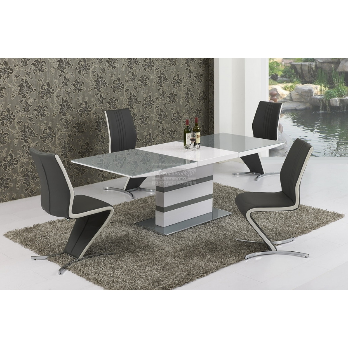 Isabella Dining Tables intended for Favorite Arctic Grey Glass And White Gloss Extending Dining Table - 160Cm To