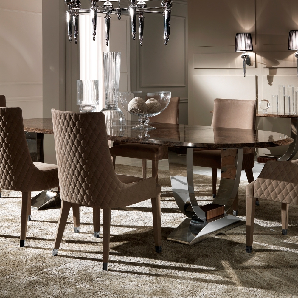 Italian Dining Tables with Most Up-to-Date Oval High End Marble Italian Dining Table