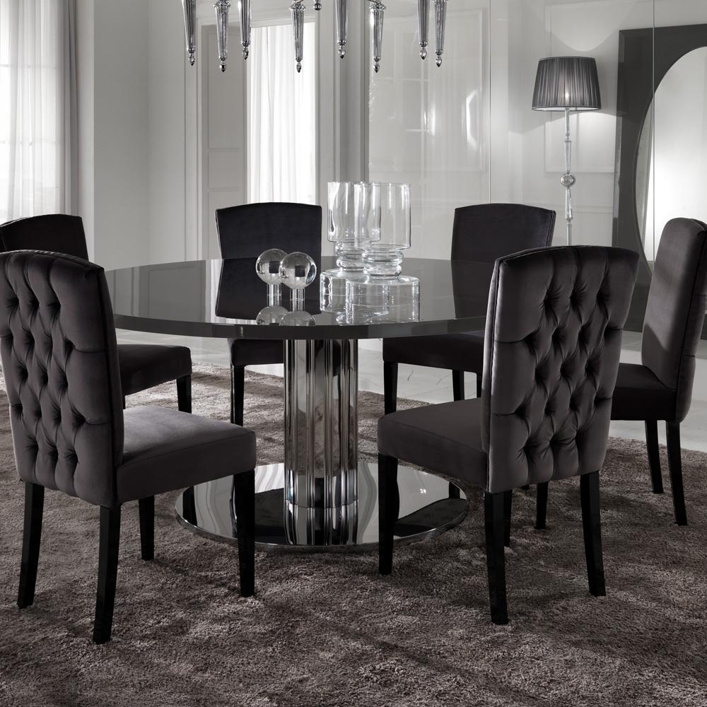 Italian Modern Designer Chrome Round Dining Table Set