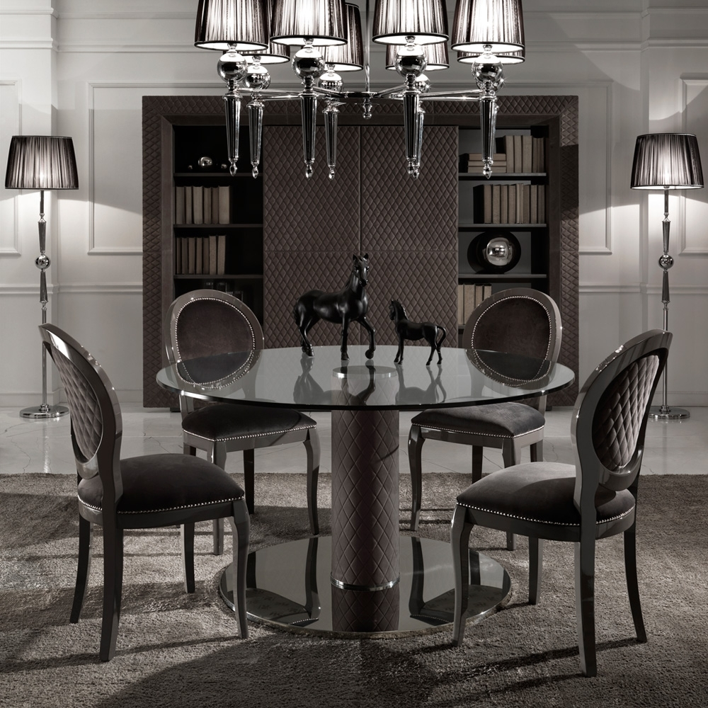 Italian Nubuck Leather Round Glass Dining Table And Chairs Set With Regard To Preferred Glass Dining Tables And Leather Chairs (Gallery 2 of 25)