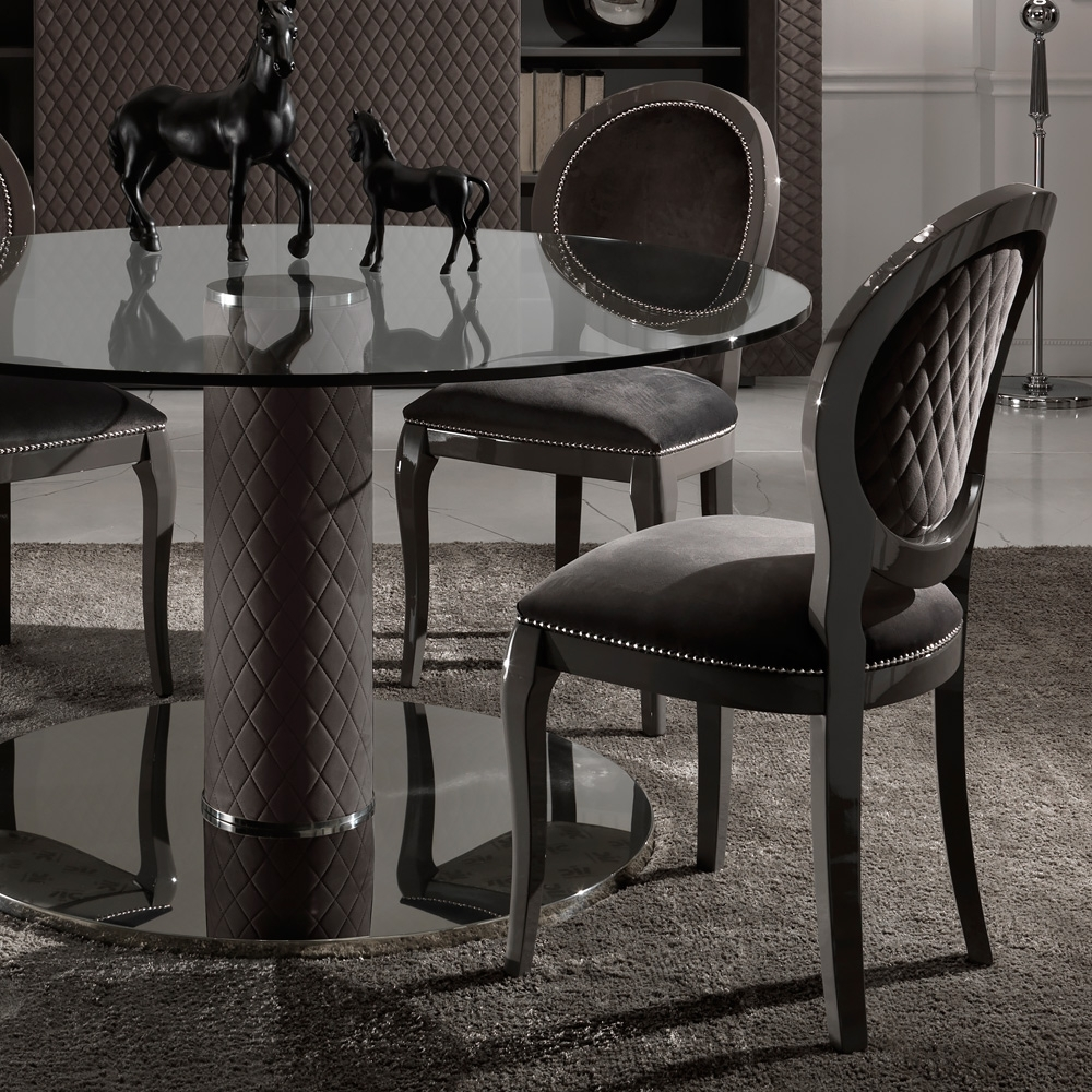 Italian Nubuck Leather Round Glass Dining Table And Chairs Set Within Well Known Round Black Glass Dining Tables And Chairs (View 2 of 25)