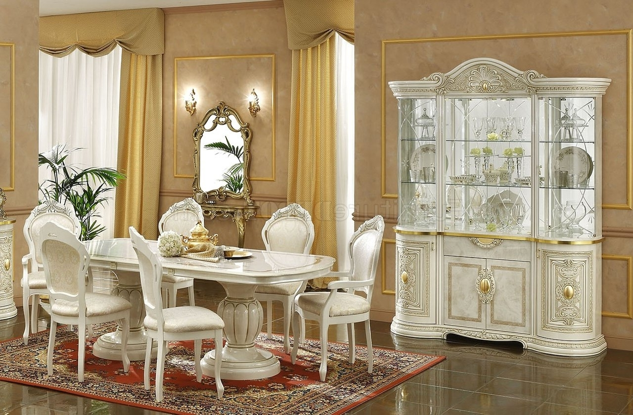 Ivory Finish Traditional Dining Room W/optional Items with regard to Well-known Traditional Dining Tables