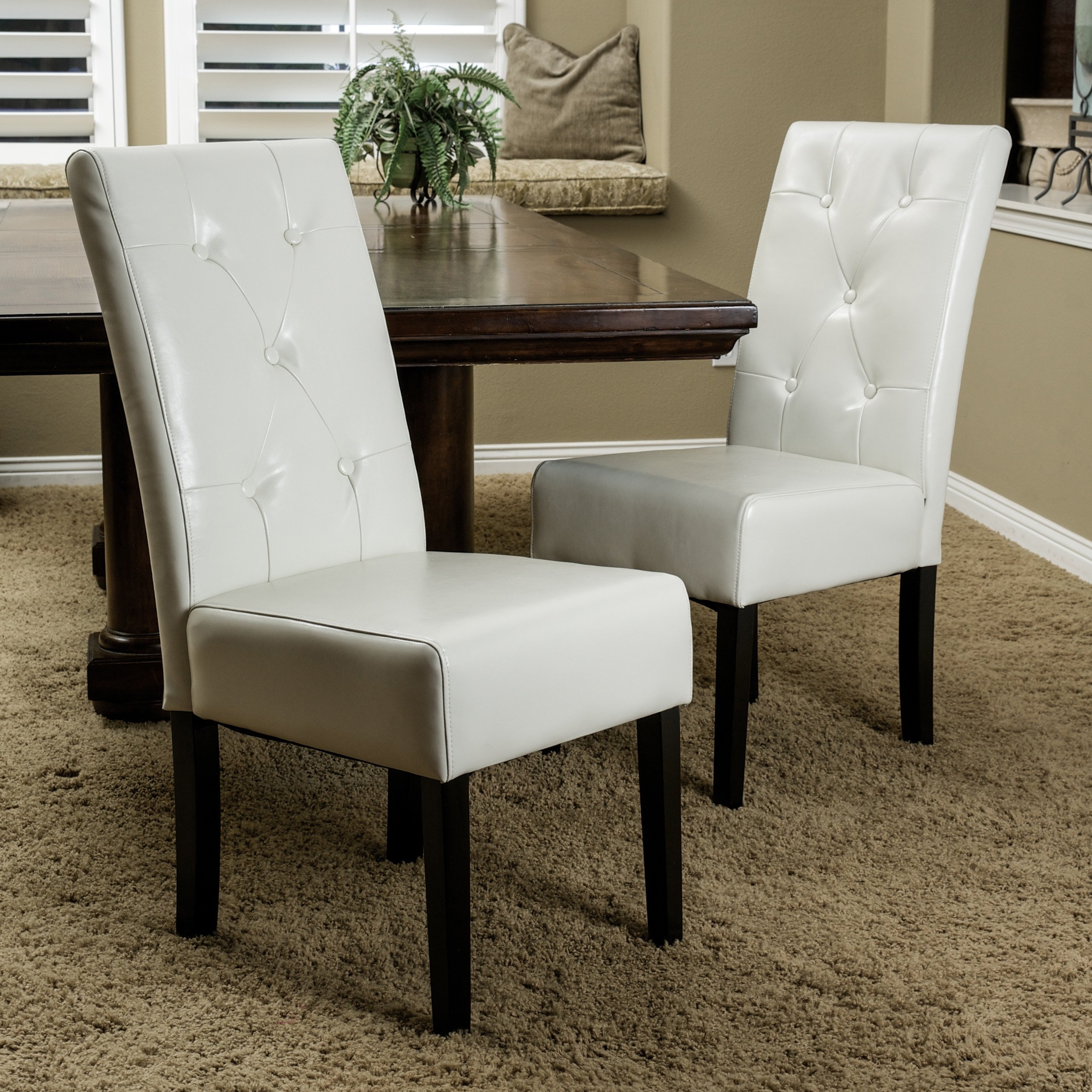 Ivory Leather Dining Chairs In Most Up To Date Shop Taylor Ivory Leather Dining Chair Set Of 2Christopher (View 14 of 25)